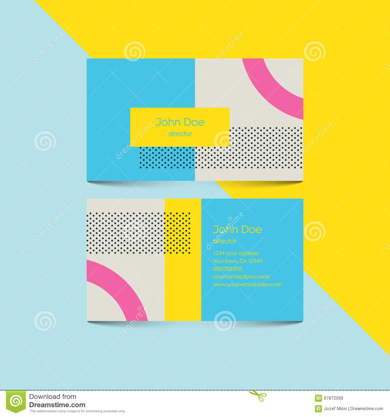 Material design business card template with 80s style background download material design business card template with 80s style background modern retro elements and geometric colourmoves