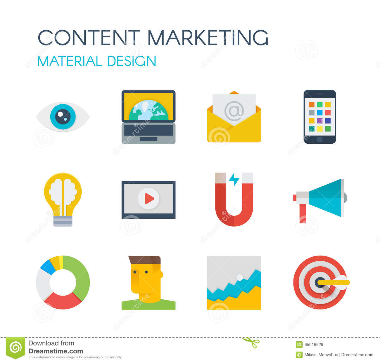 Material design content marketing icons stock image for Digital marketing materials