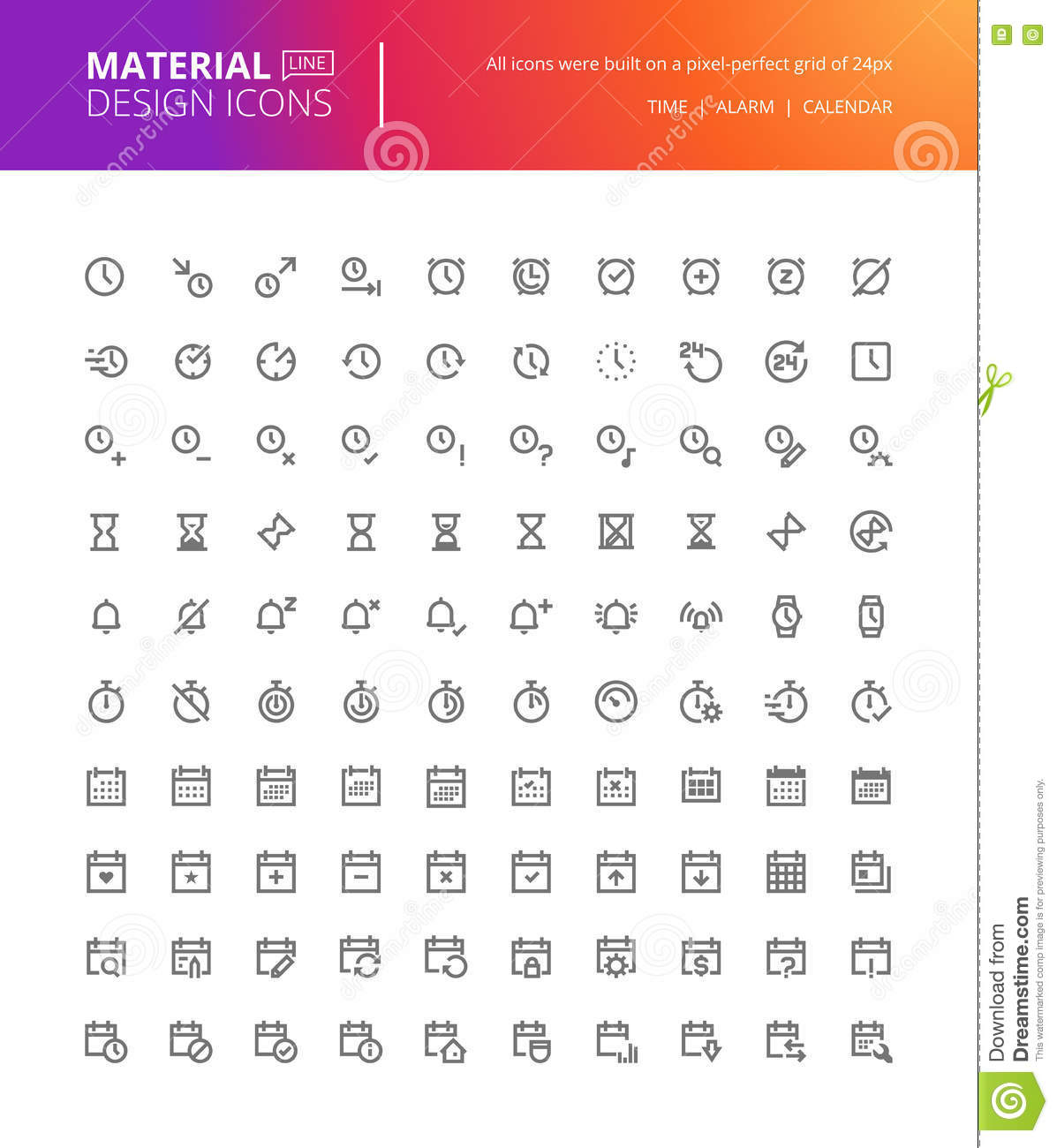 Time And Date Calendar.Material Design Time And Date Icons Set Stock Vector Illustration