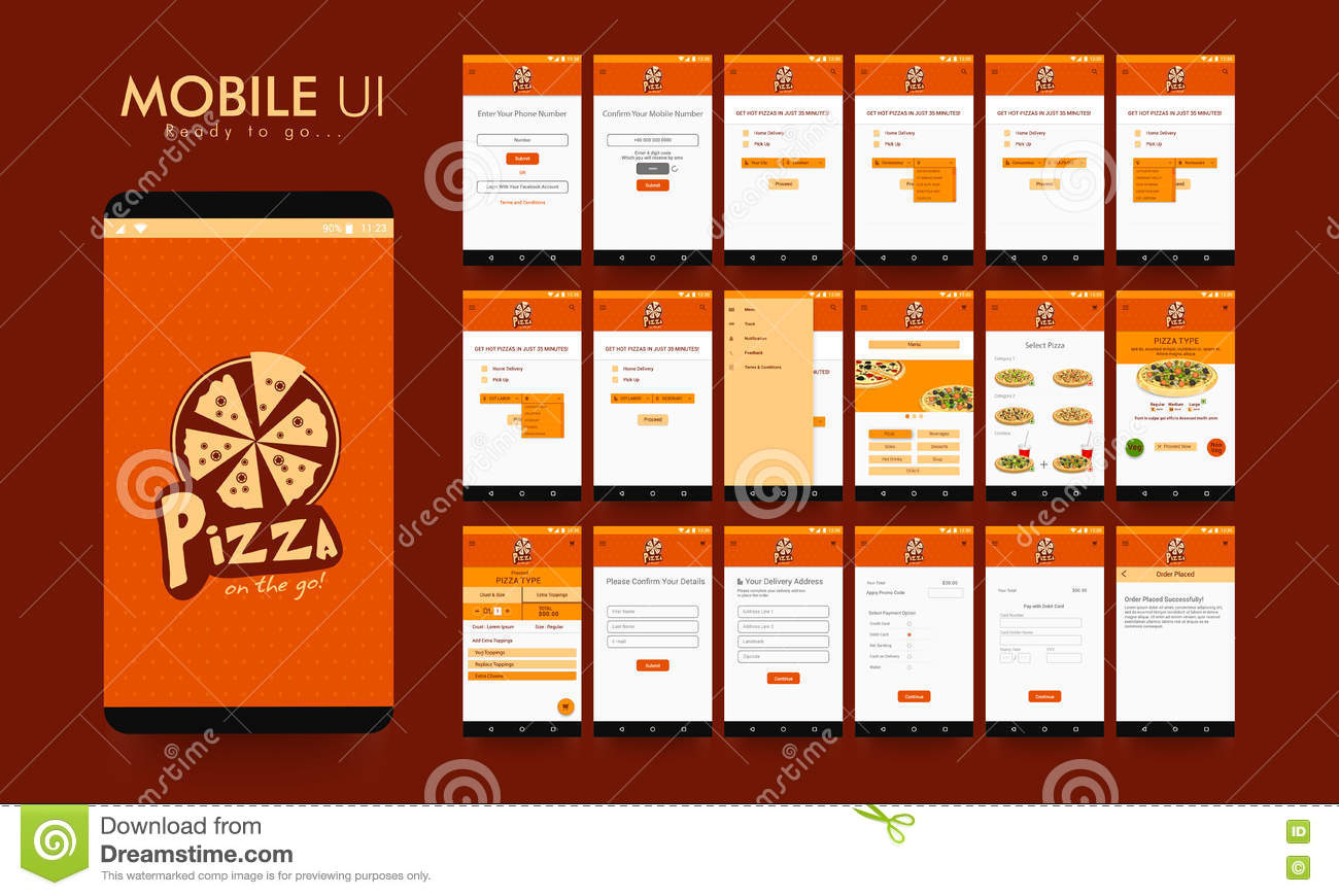 Material design ui ux and gui for food mobile apps stock
