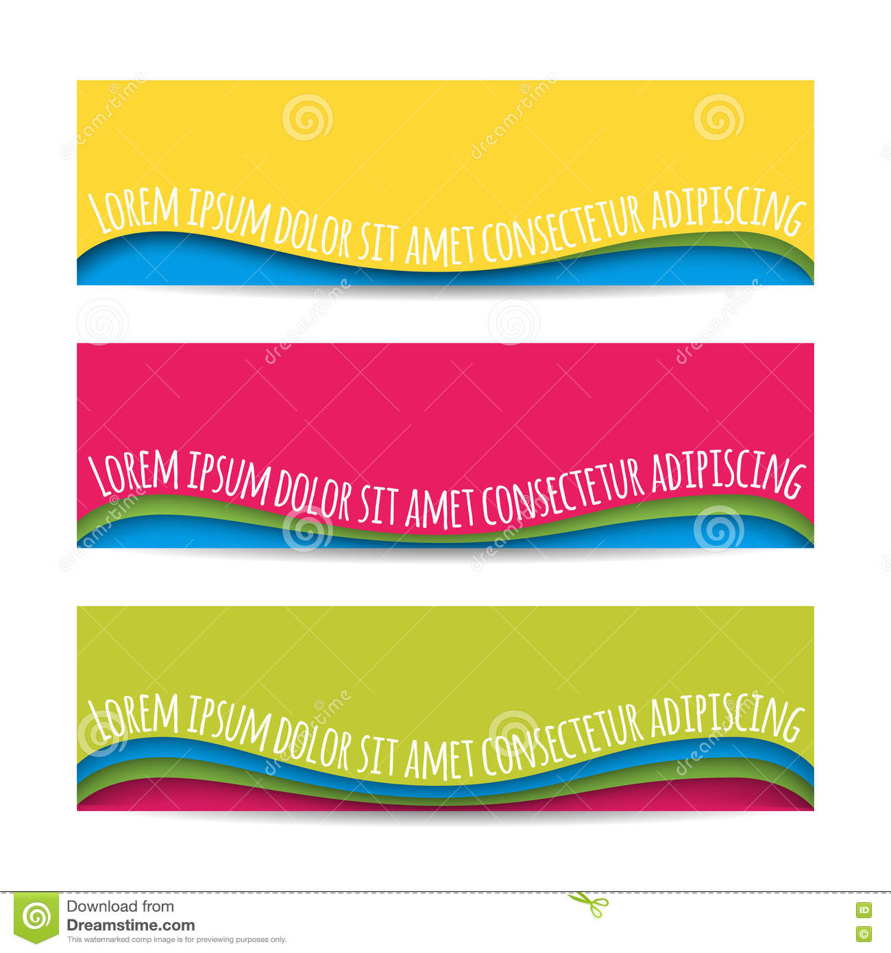 Set of colorful horizontal curved paper ribbon banners - Text banner design ...
