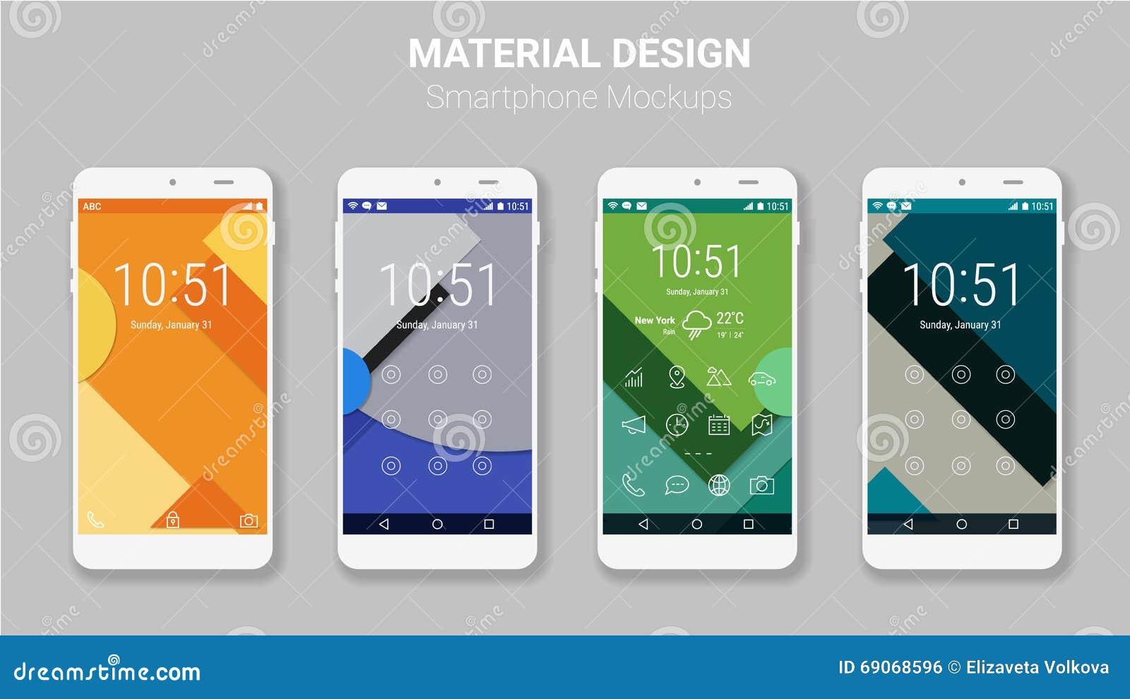 material ui screens mockup kit stock vector illustration of