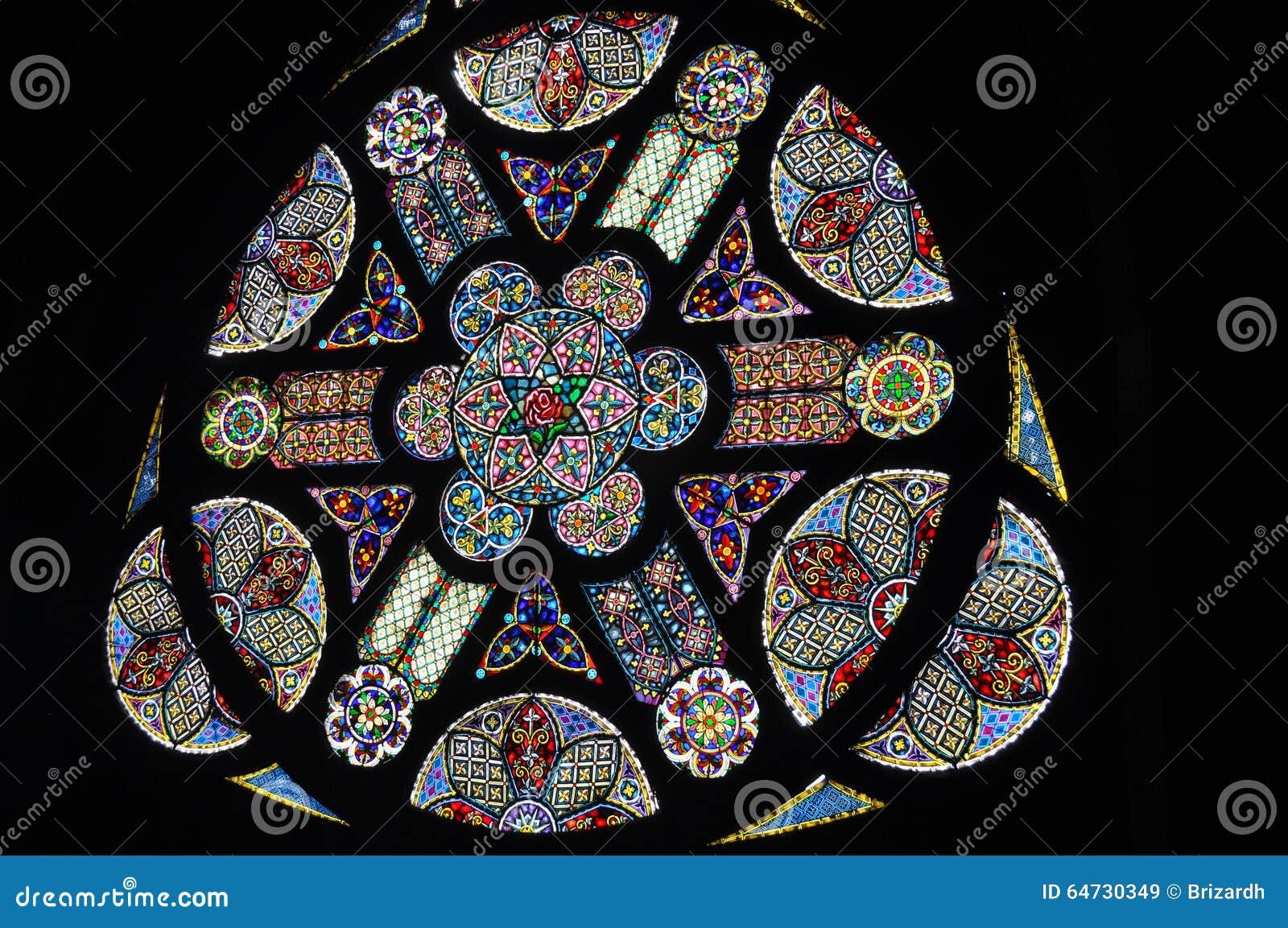 Materiale illustrativo dentro la cattedrale di Manizales, Colombia dei vetri macchiati