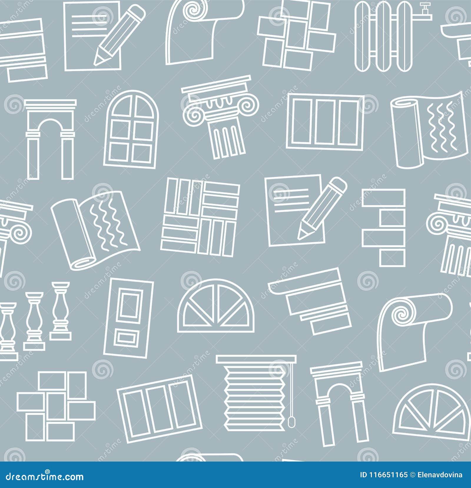 Materiali di rifinitura, costruzione, modello senza cuciture, disegno di contorno, blu scuro, colore, vettore