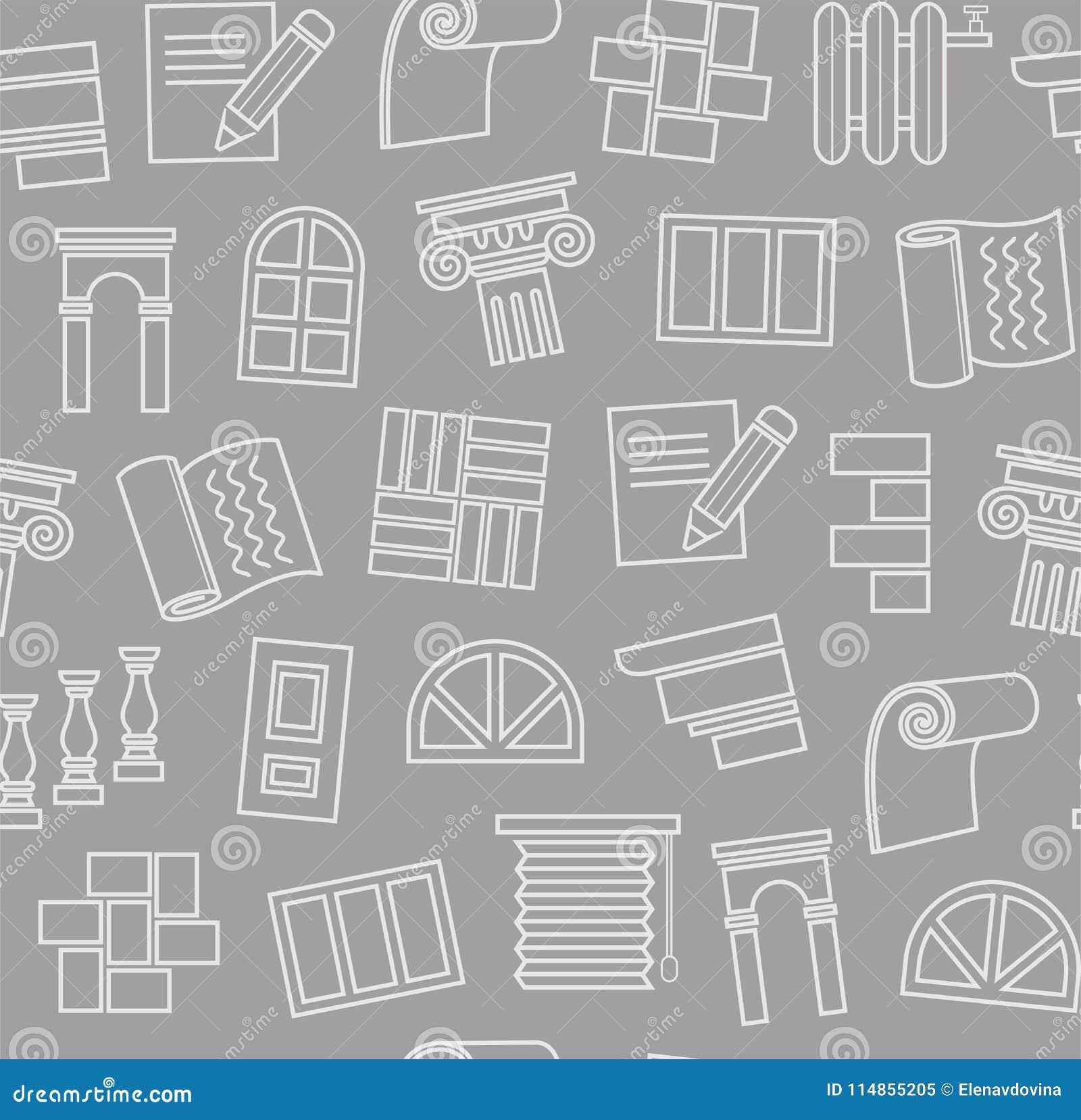 Materiali di rifinitura, costruzione, modello senza cuciture, disegno di profilo, grigio scuro, colore, vettore