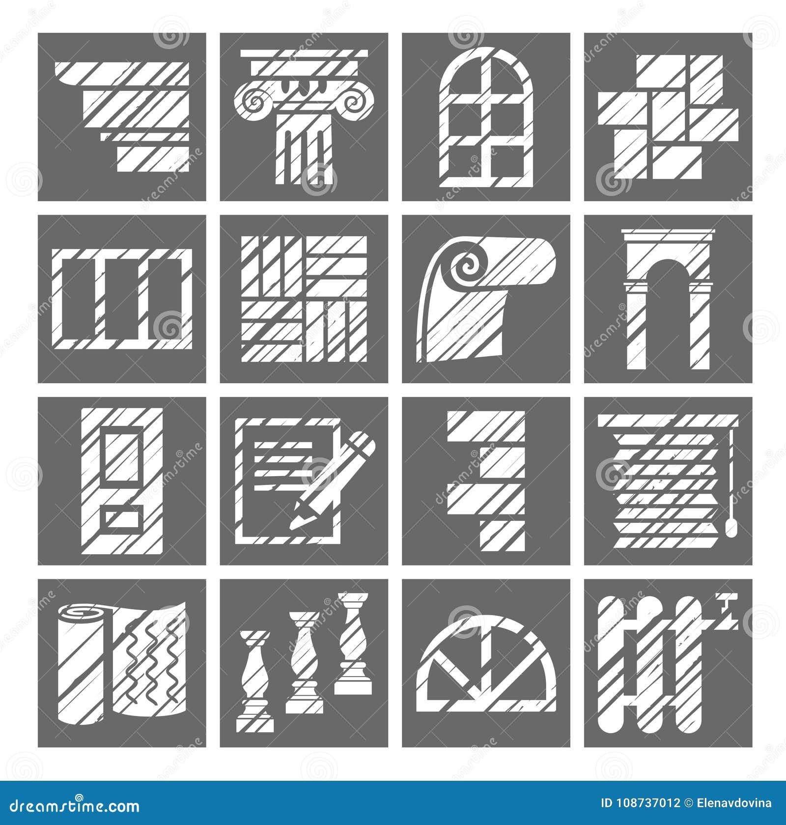 Materiali di rifinitura e della costruzione, icone, matita di ombreggiatura, bianco, gray, vettore
