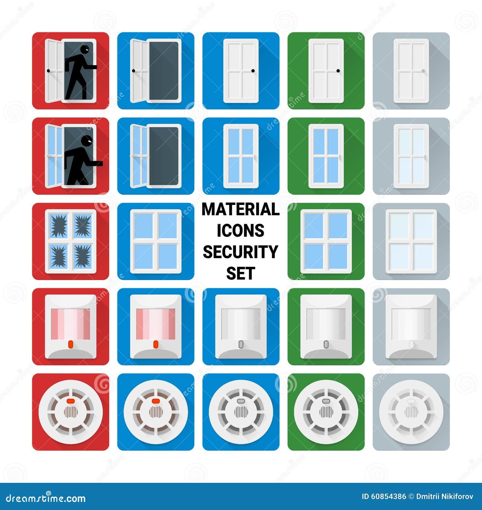 Materialny ikony ochrony set