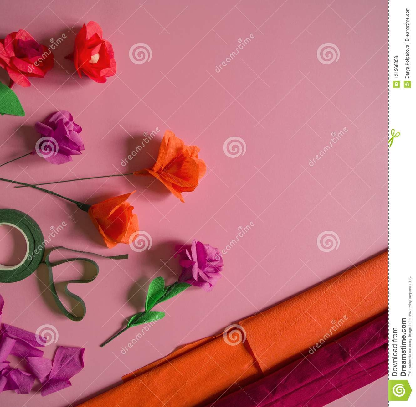 Materials To Create A Flower Handmade Paper Flower Crepe Paper