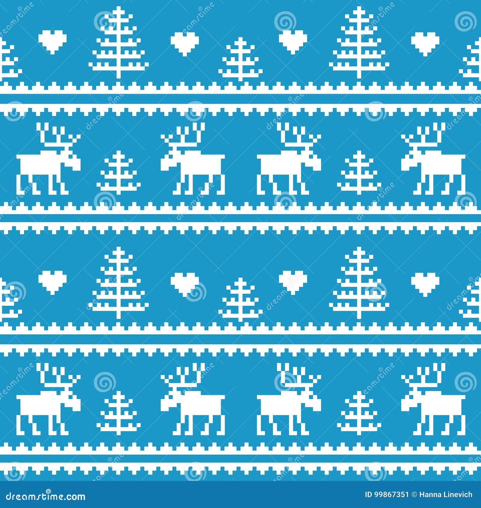 Materiel Seamless tyg Glad jul och lyckligt nytt år älg Träd PIXEL Vit- och blåttfärg