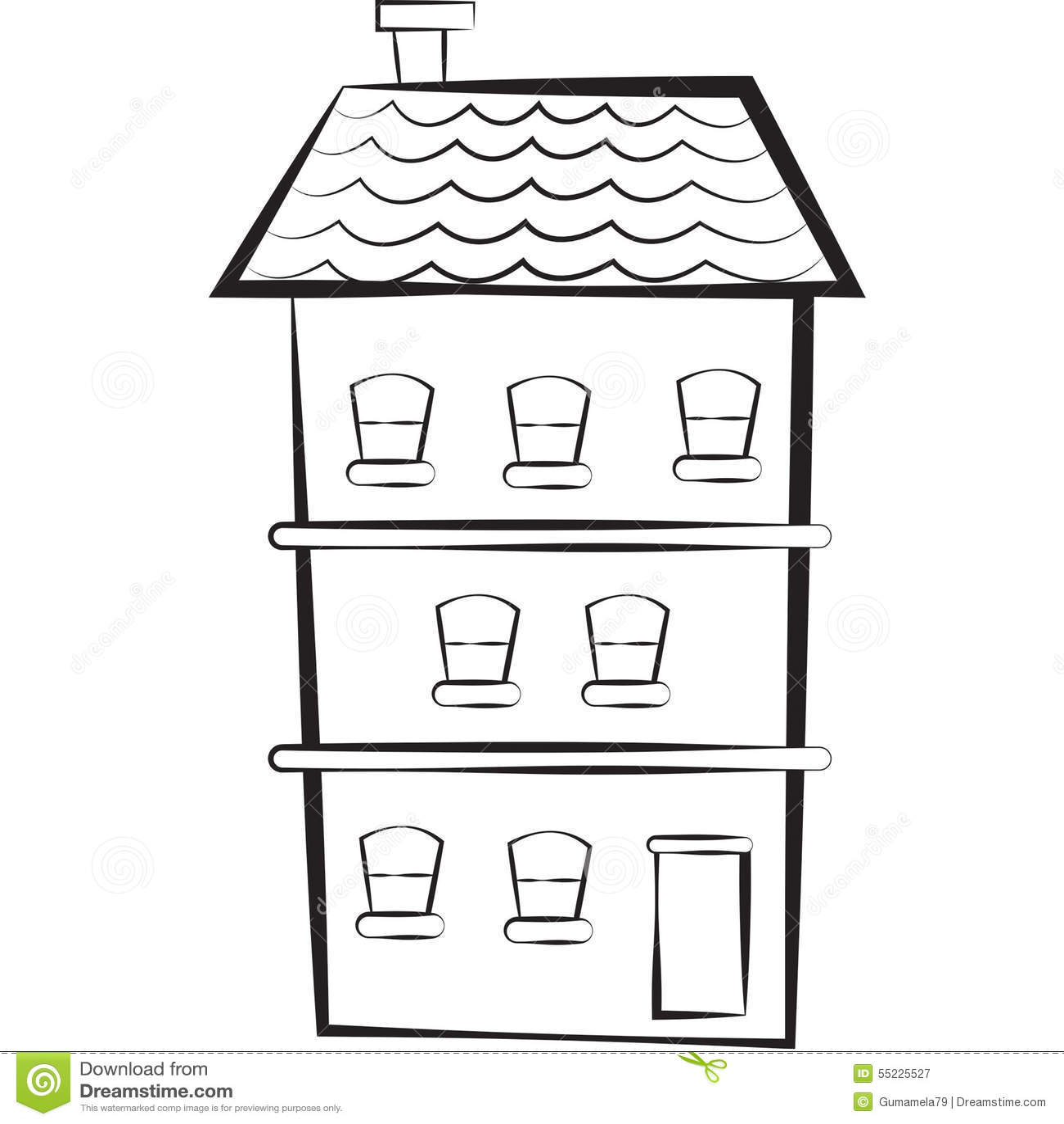 materielbild  trev u00e5ningshus stock illustrationer