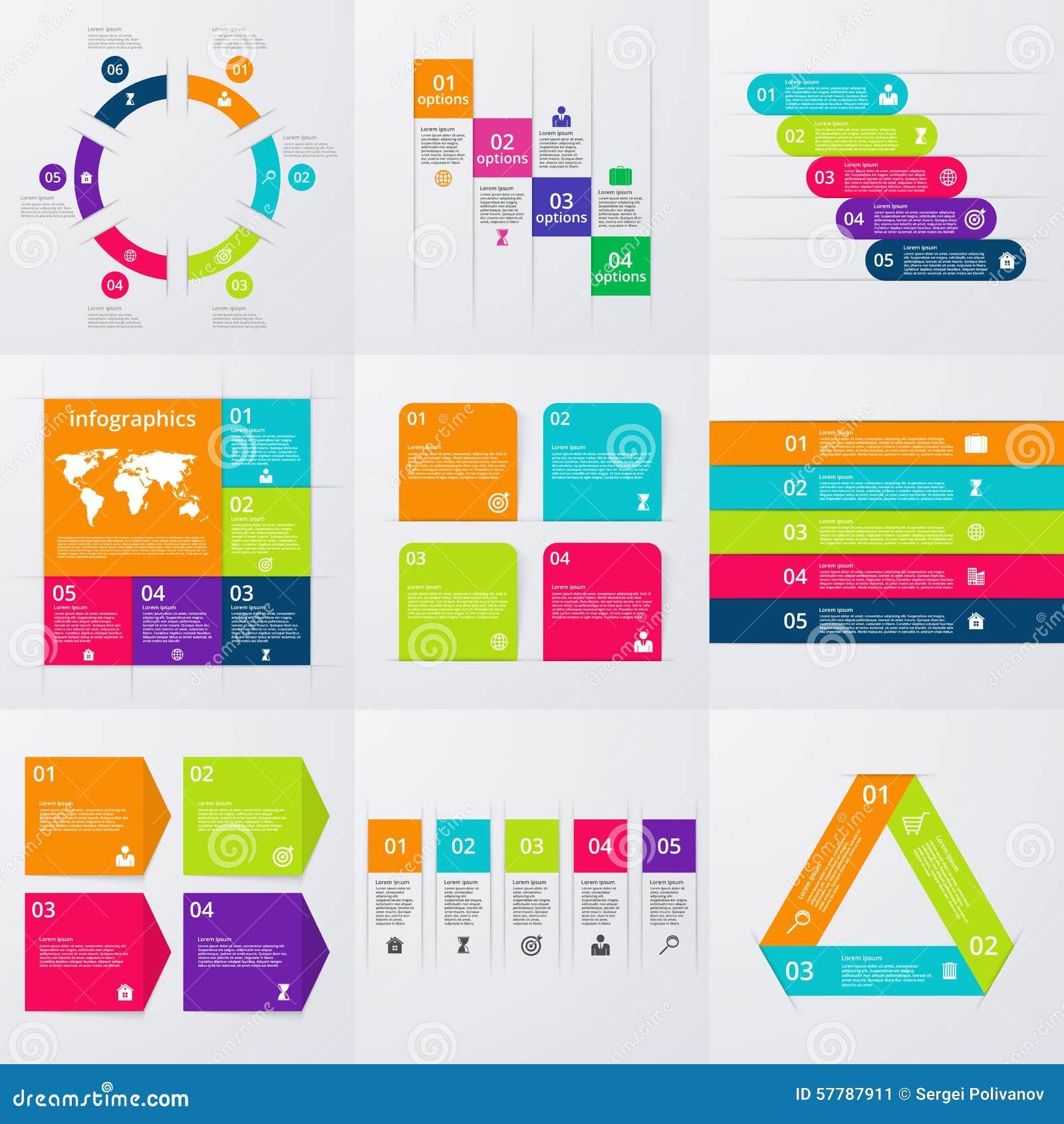 Materielvektoruppsättning av infographics En uppsättning av nio mallar