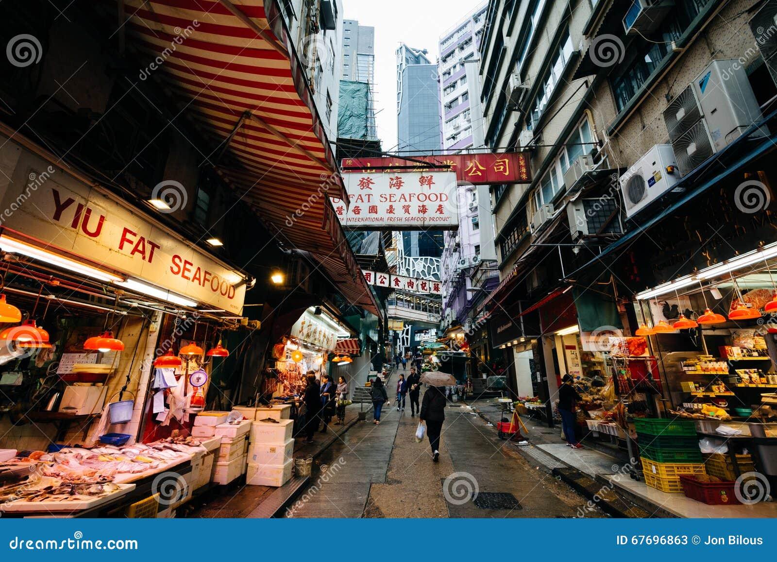 Matförsäljare på Gage Street, i Hong Kong, Hong Kong