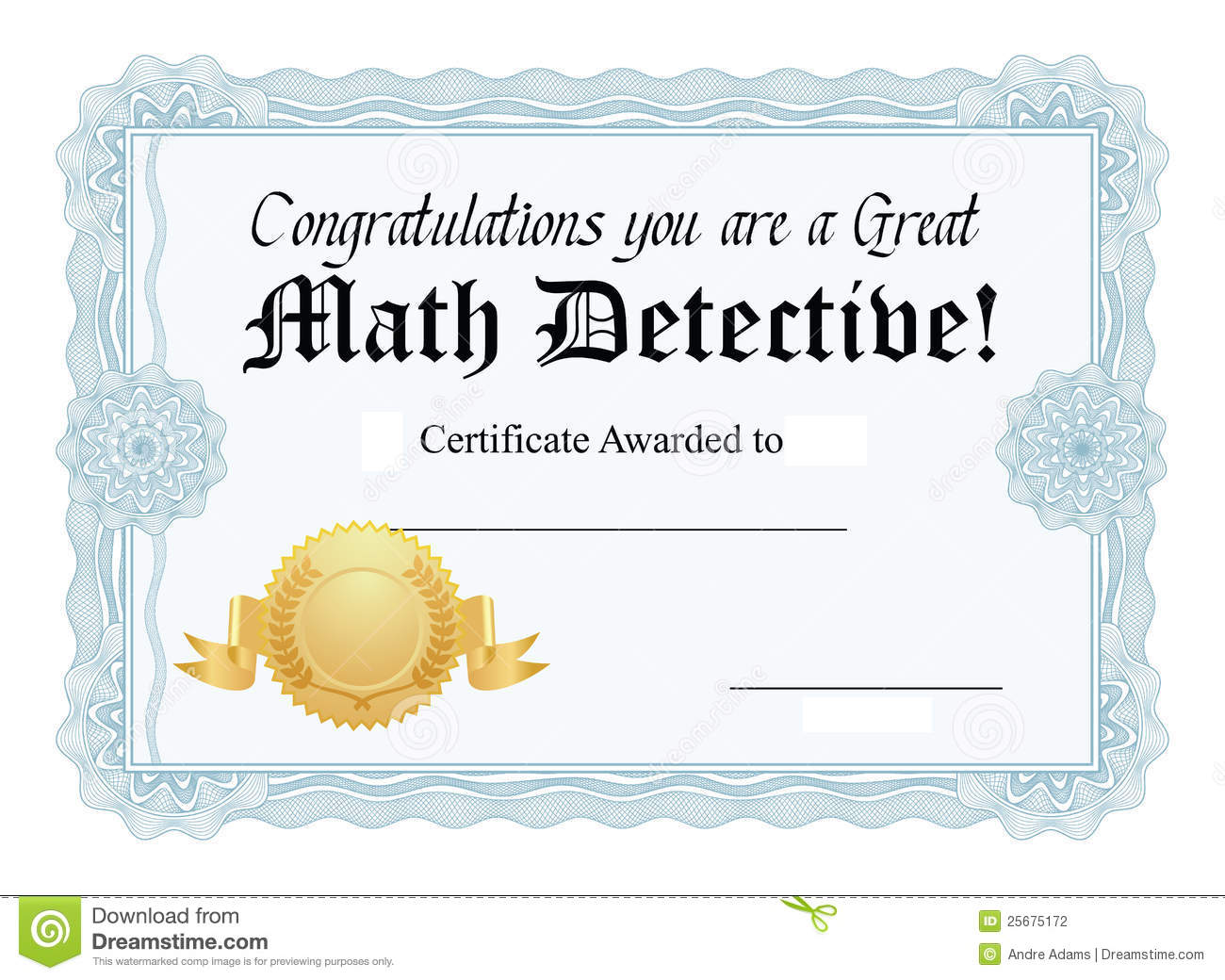 math certificate stock photography
