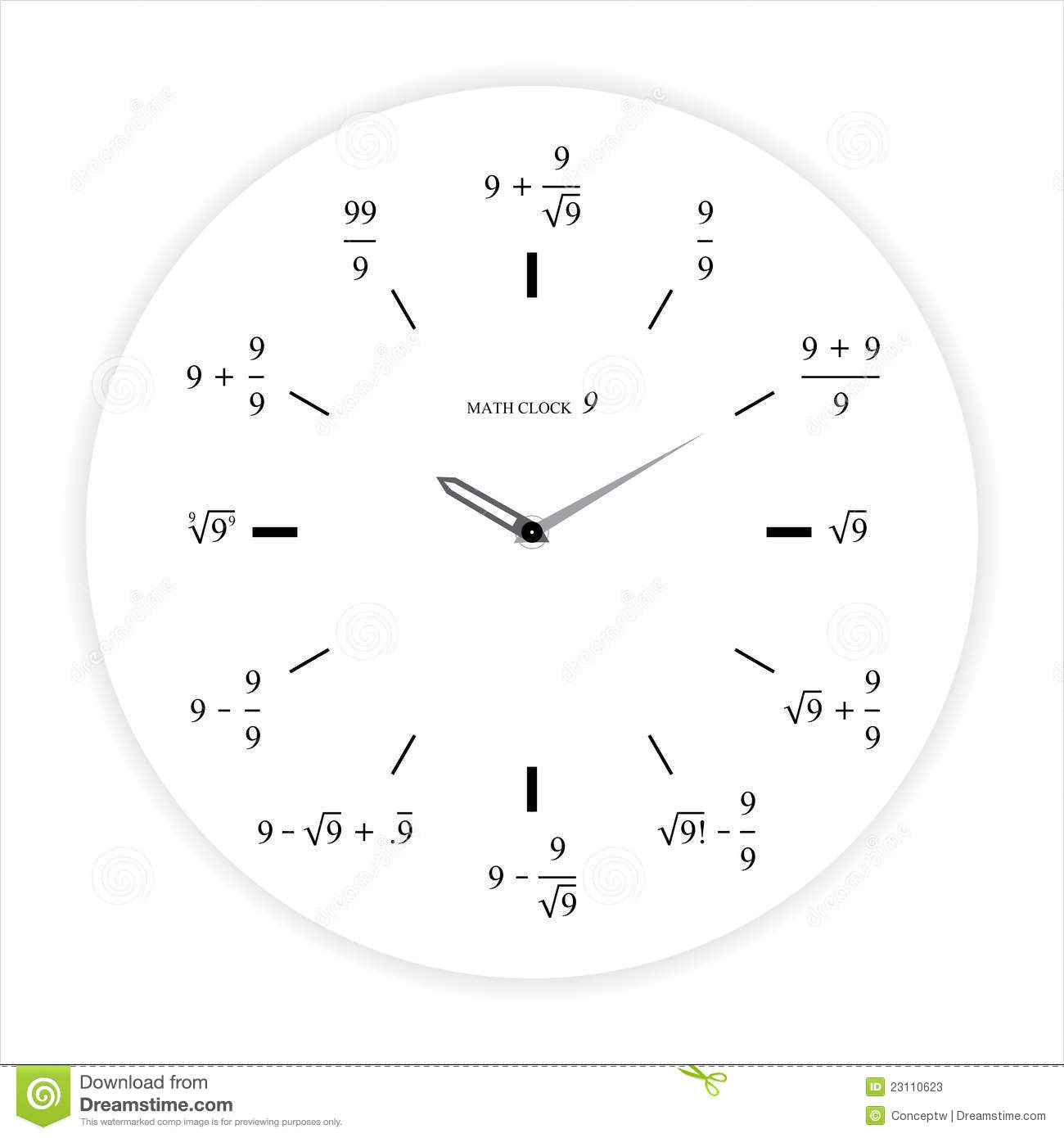 Math Clock 9 Concept stock illustration. Image of ...