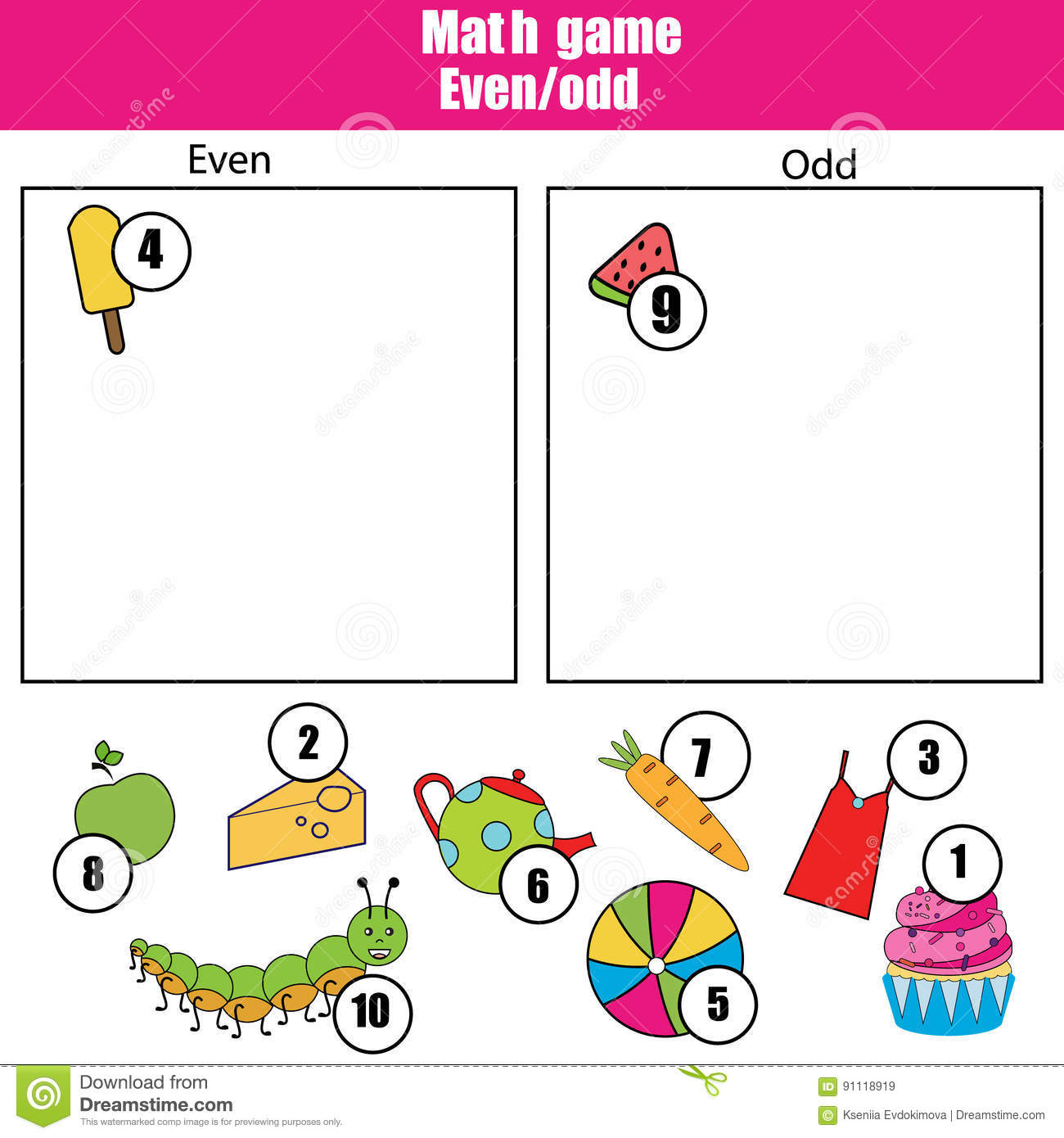 Math Educational Game For Children. Learning Even And Odd Numbers ...