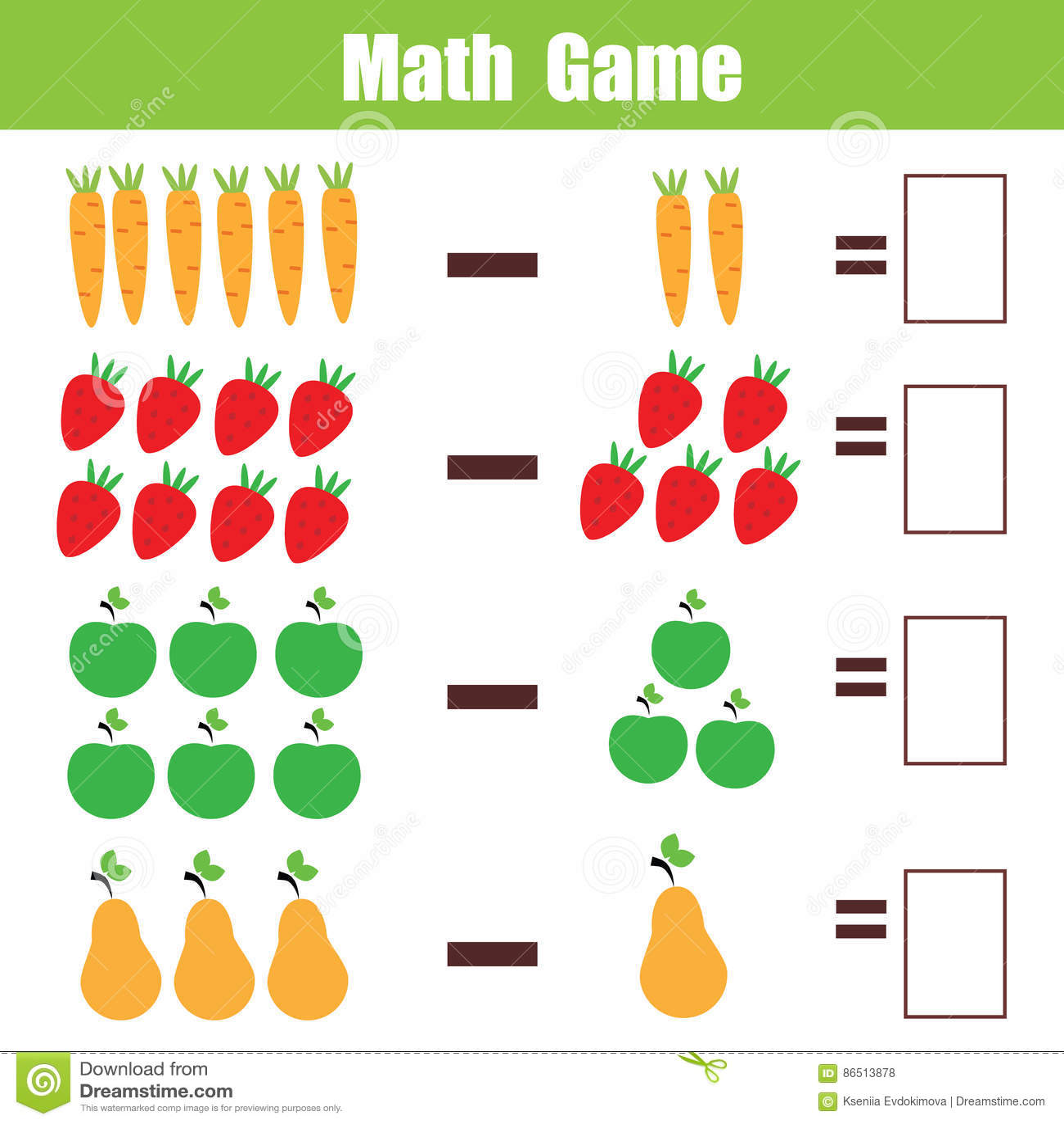 Math Educational Game For Children, Subtraction Mathematics ...