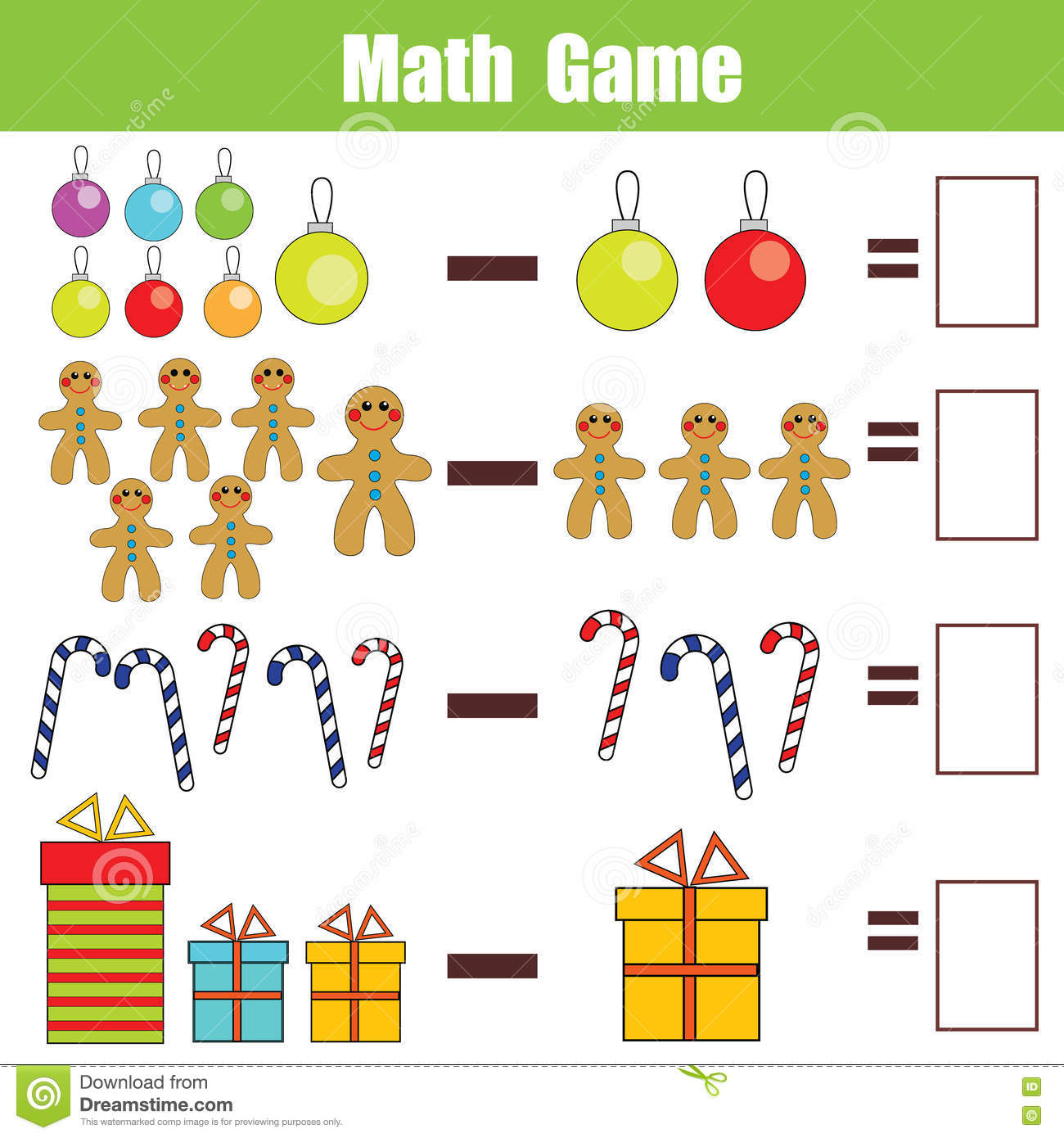 Math Educational Game For Children Subtraction Worksheet – Christmas Subtraction Worksheets
