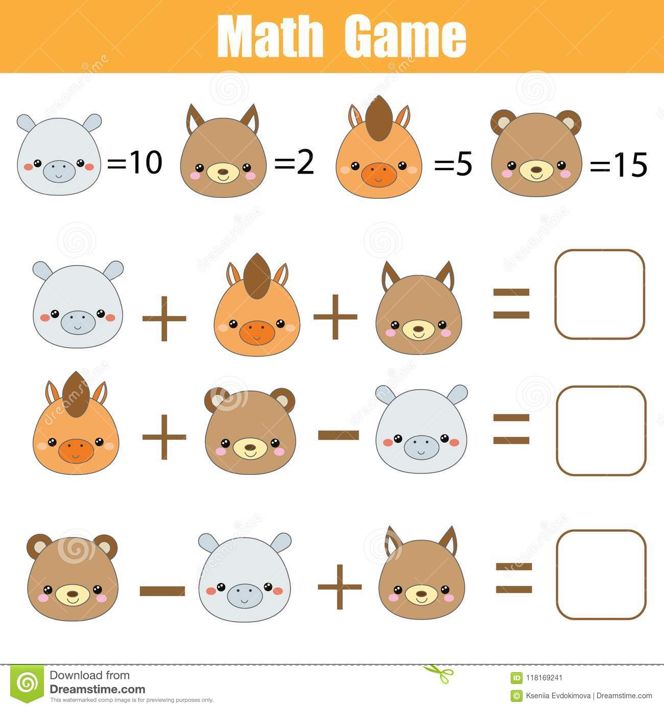 Math Educational Game Counting Equations Mathematics Worksheet For