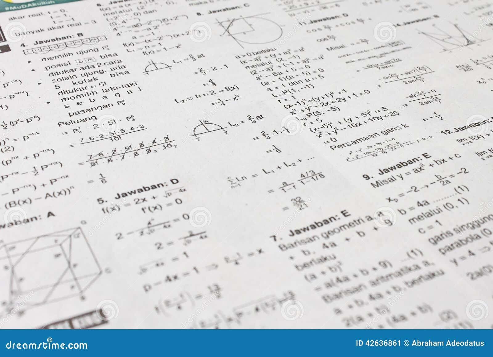 Math Equations Stock Image Image Of Print Line Math 42636861