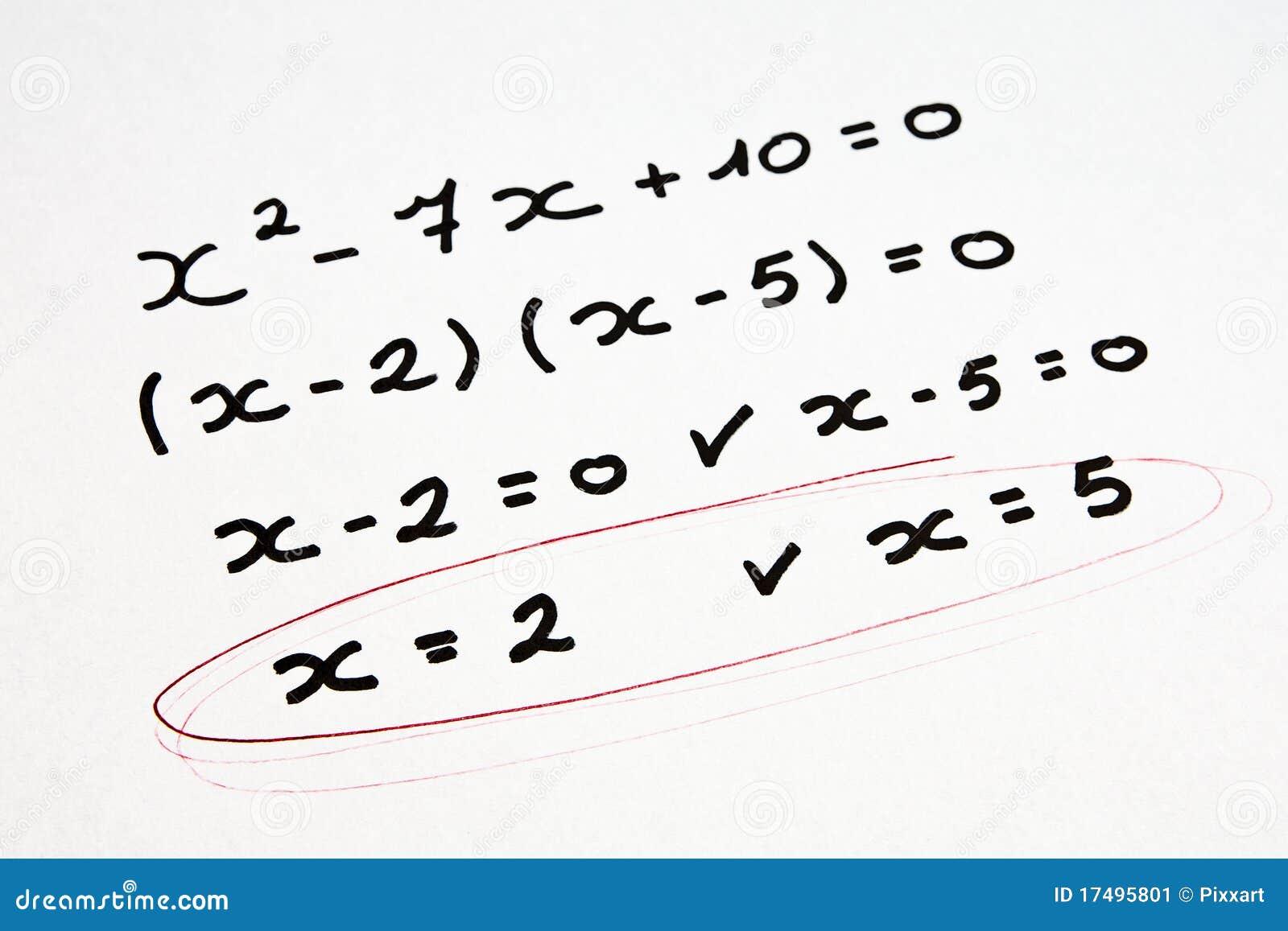 Math exercise stock photo. Image of formula, mathematics - 10570624