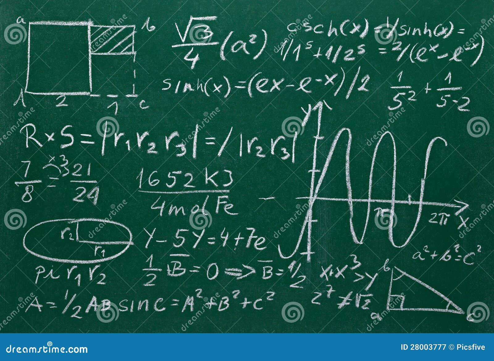 math formulas on school blackboard education stock