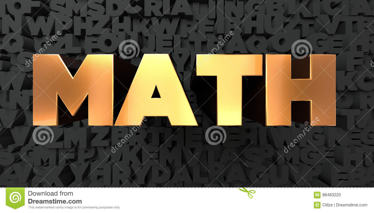 Math - Gold Text On Black Background - 3D Rendered Royalty Free ...