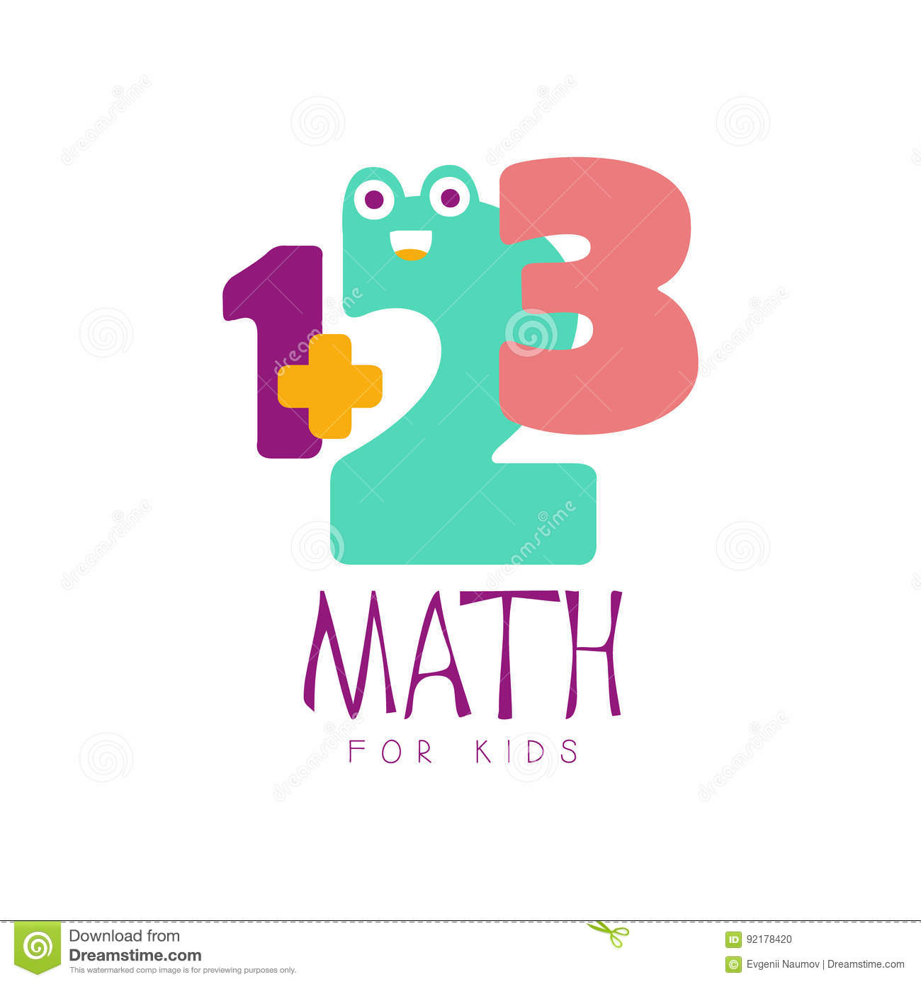 Math For Kids Logo Symbol. Colorful Hand Drawn Label Stock Vector ...