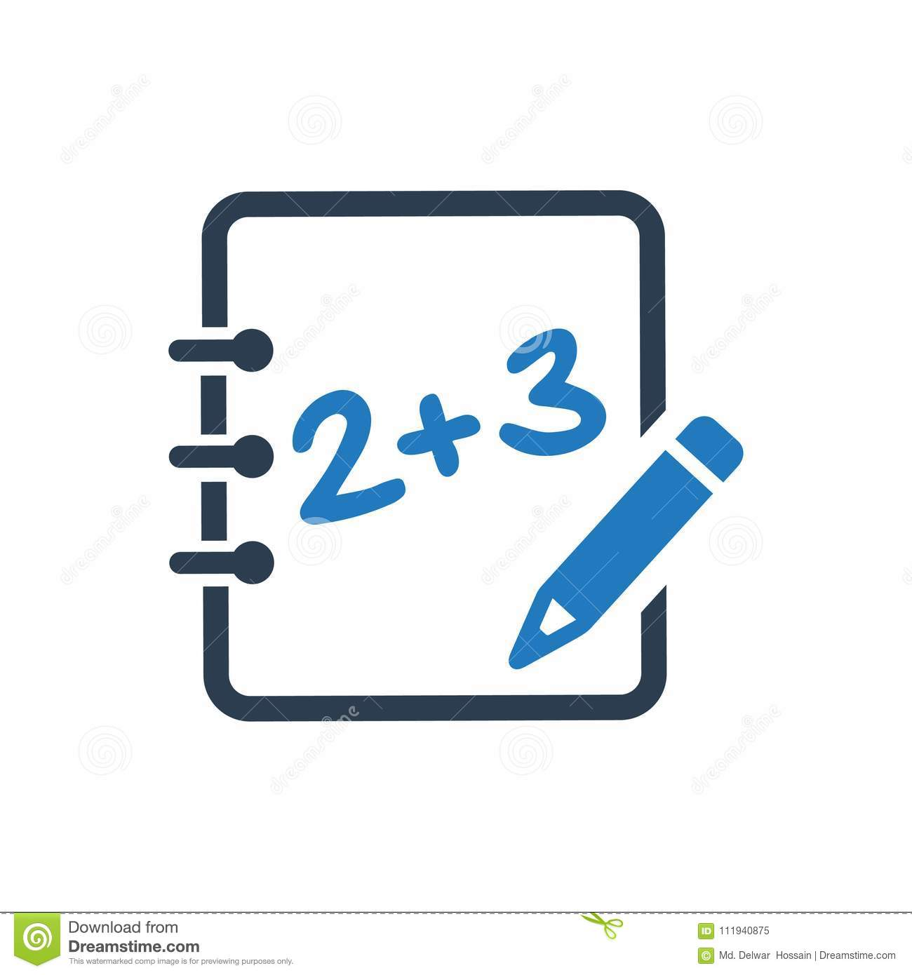 Math learning icon stock vector. Illustration of icon - 111940875