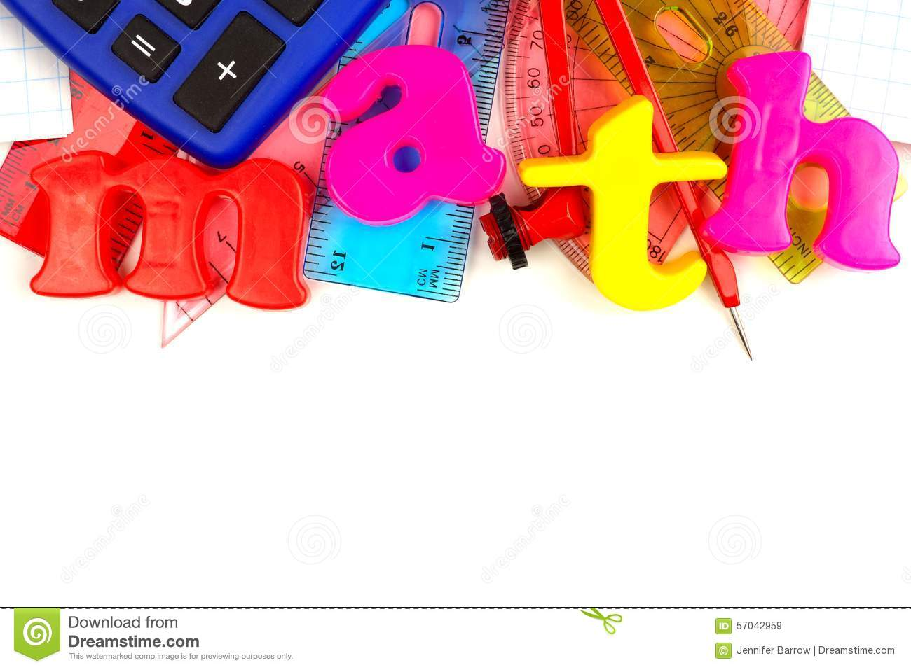 math magnetic letters with school supplies stock image