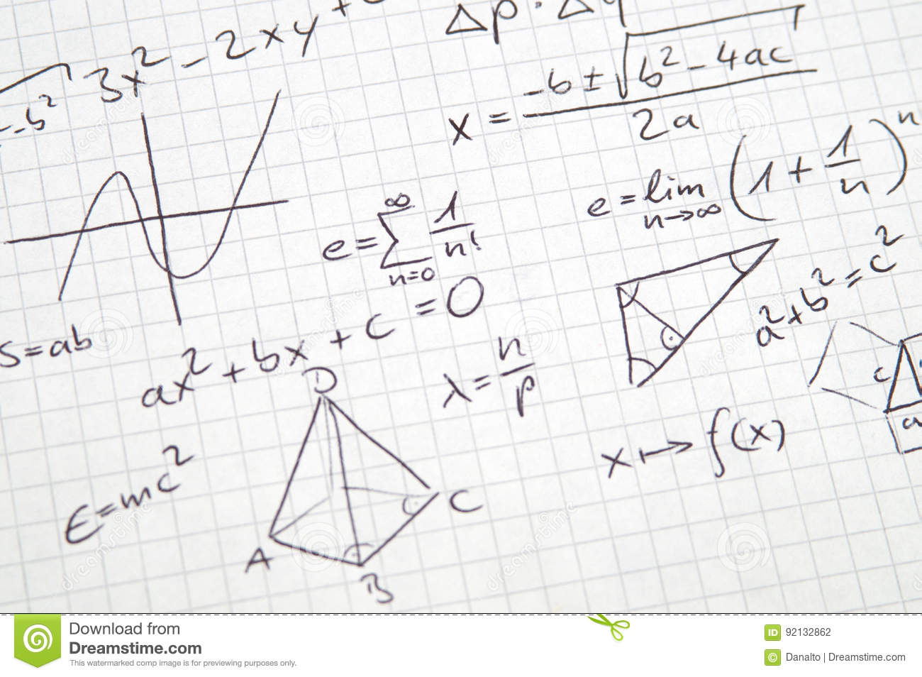 Math notes stock photo  Image of down, phrase, lettering