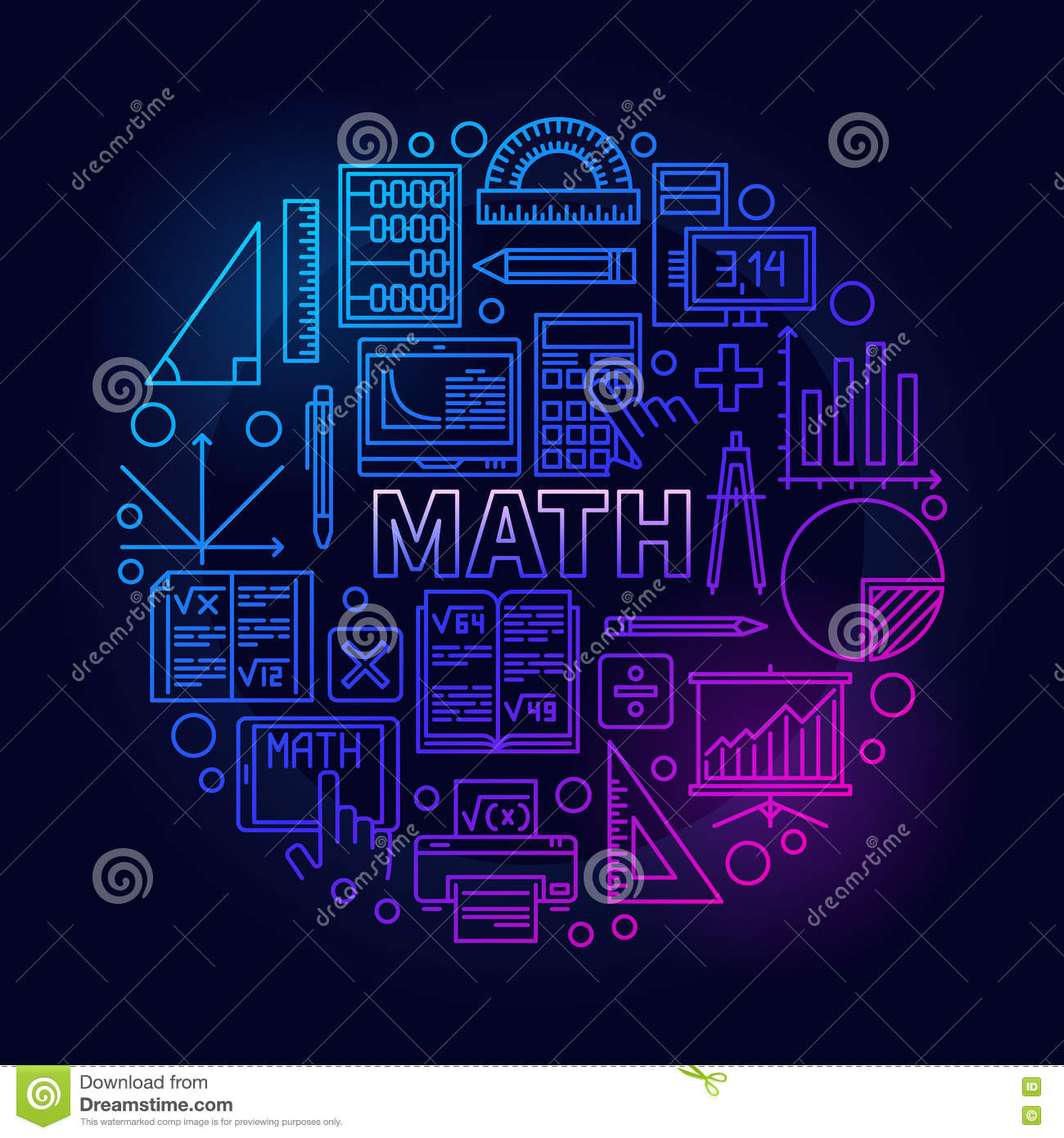 Prepare Your Child For Stem Subjects: Math Round Bright Symbol Stock Vector. Illustration Of