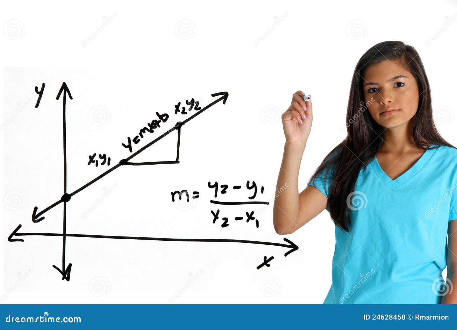 Math Student stock photo. Image of equation, female, writing - 24628458