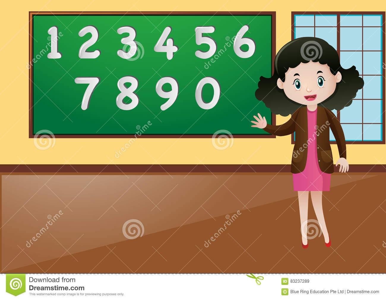 Math Teacher Teaching How To Count Numbers Stock Vector - Image ...