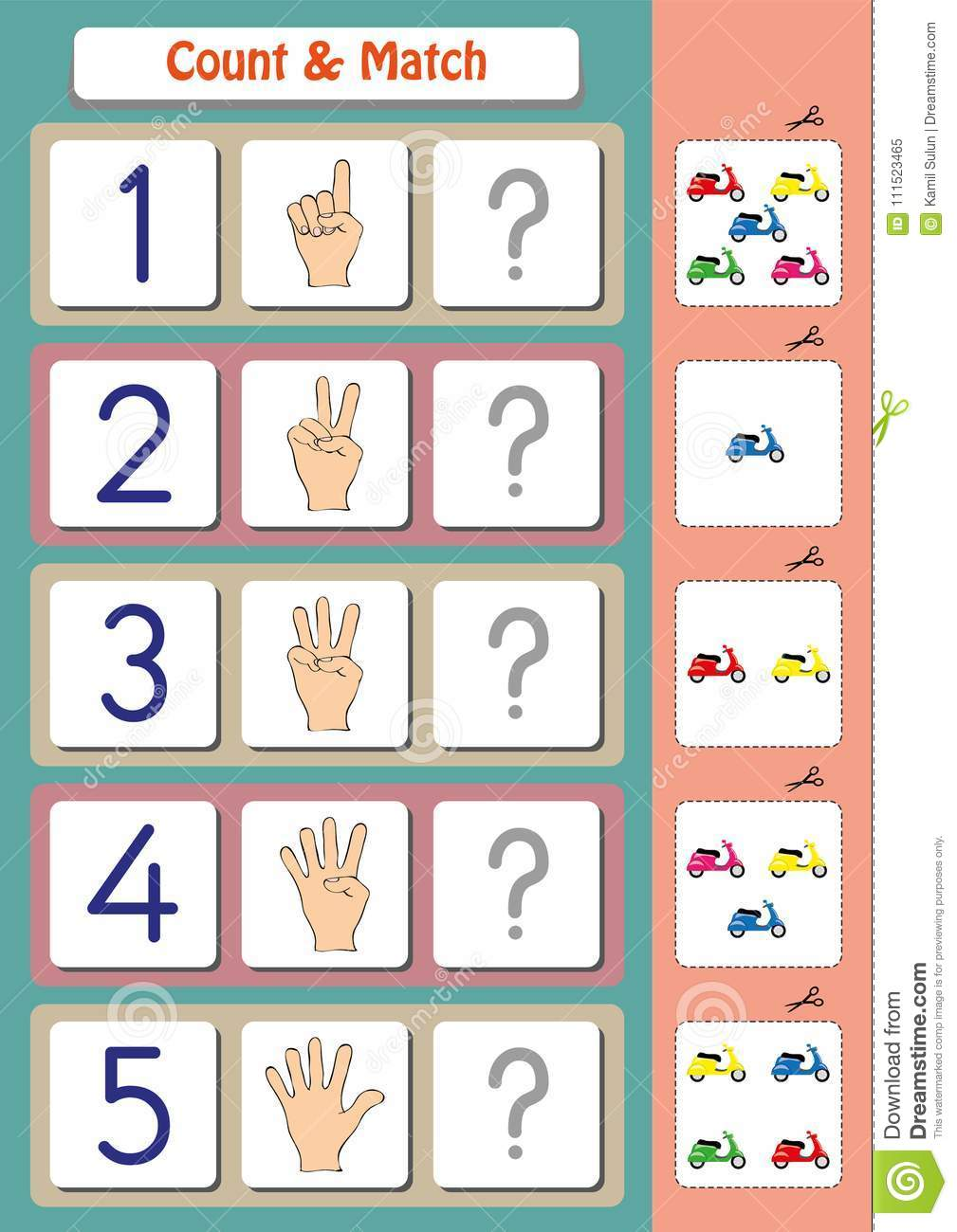 math worksheet for kindergarten kids count and match stock  math worksheet for kindergarten kids count and match