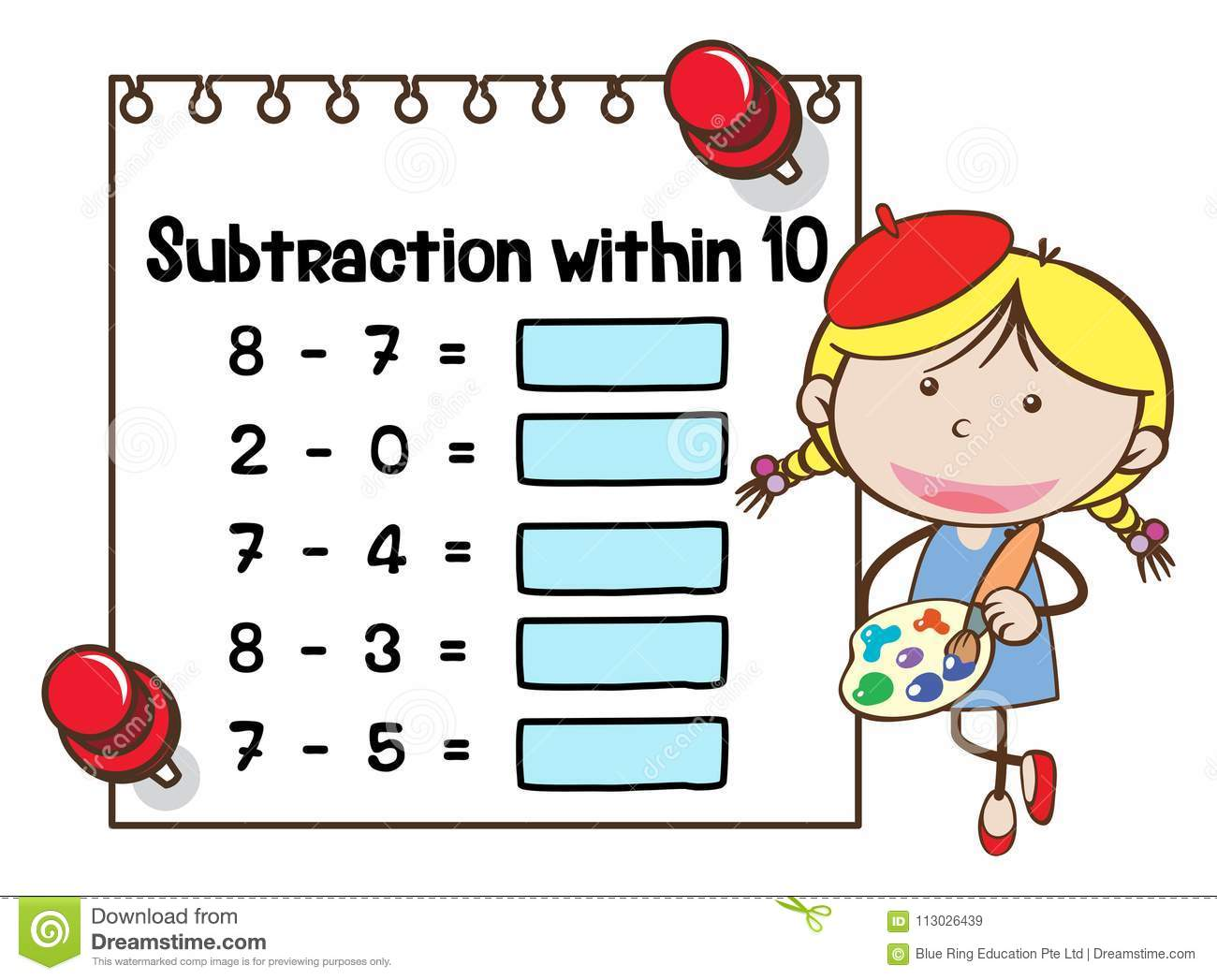 Math Worksheet Template For Subtraction Within Ten Stock Vector ...