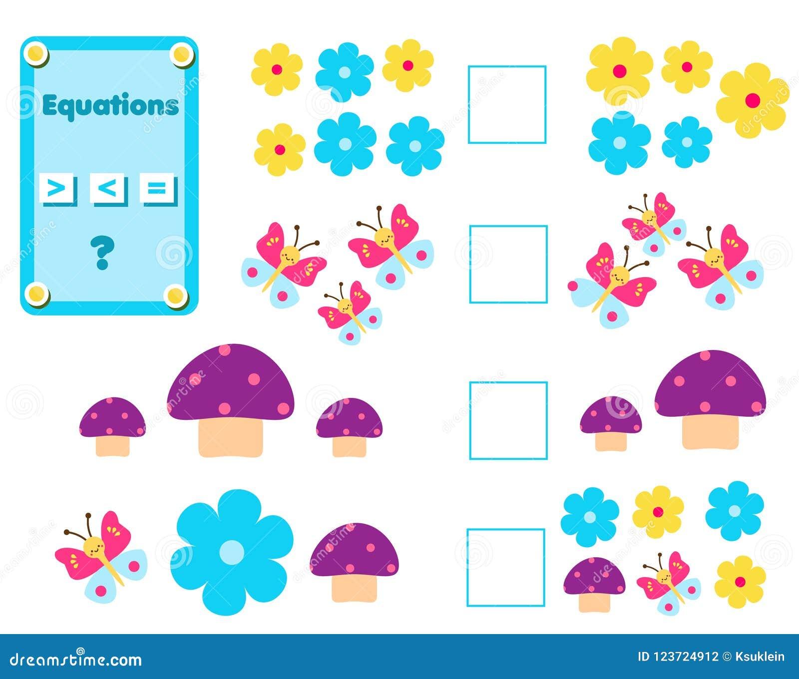 Mathelernspiel für Kinder Schließen Sie die mathematische Gleichungsaufgabe ab, wählen Sie mehr, weniger oder Gleichgestelltes