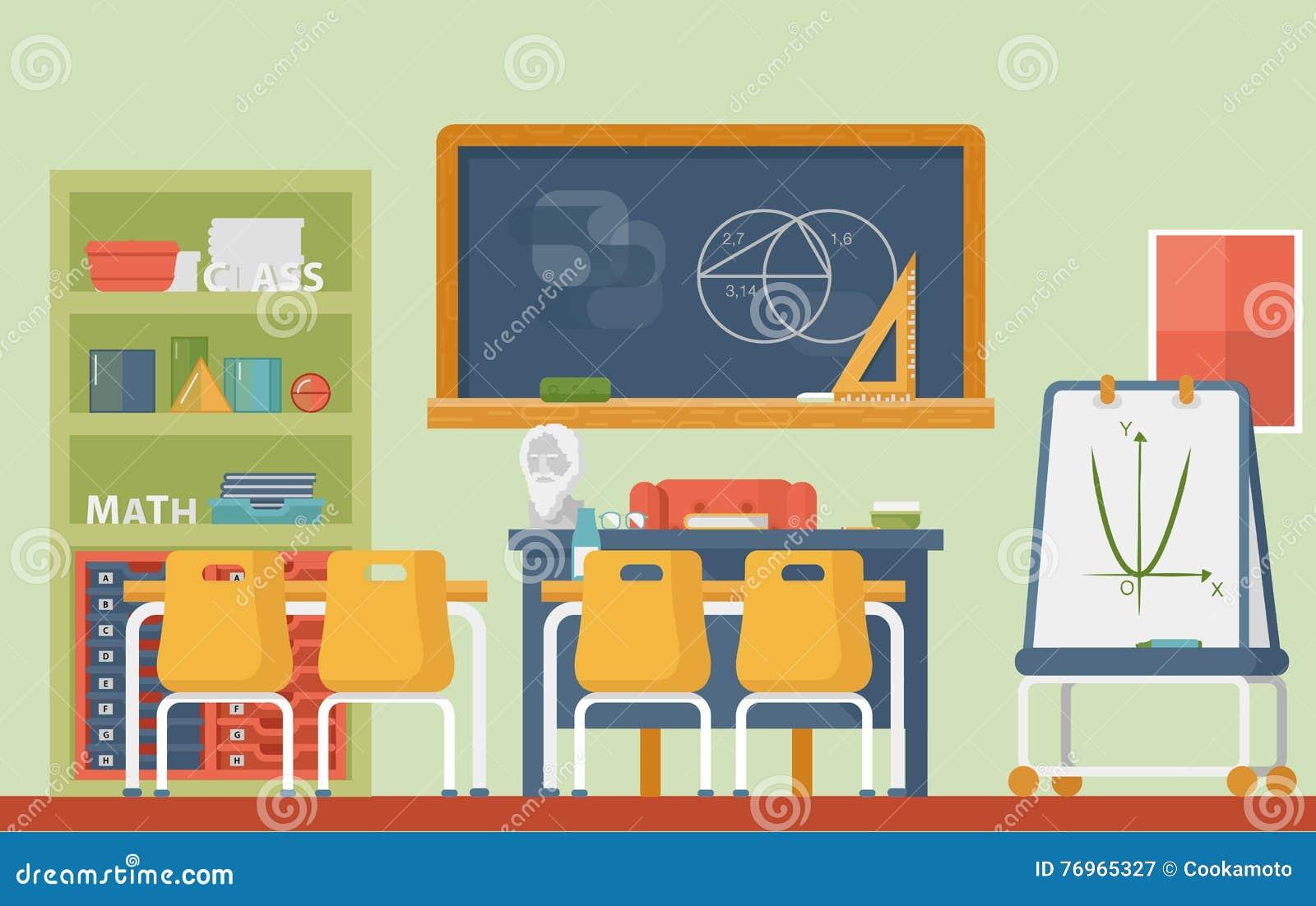 Mathematic, Geometry School Classroom Interior  Lesson Of