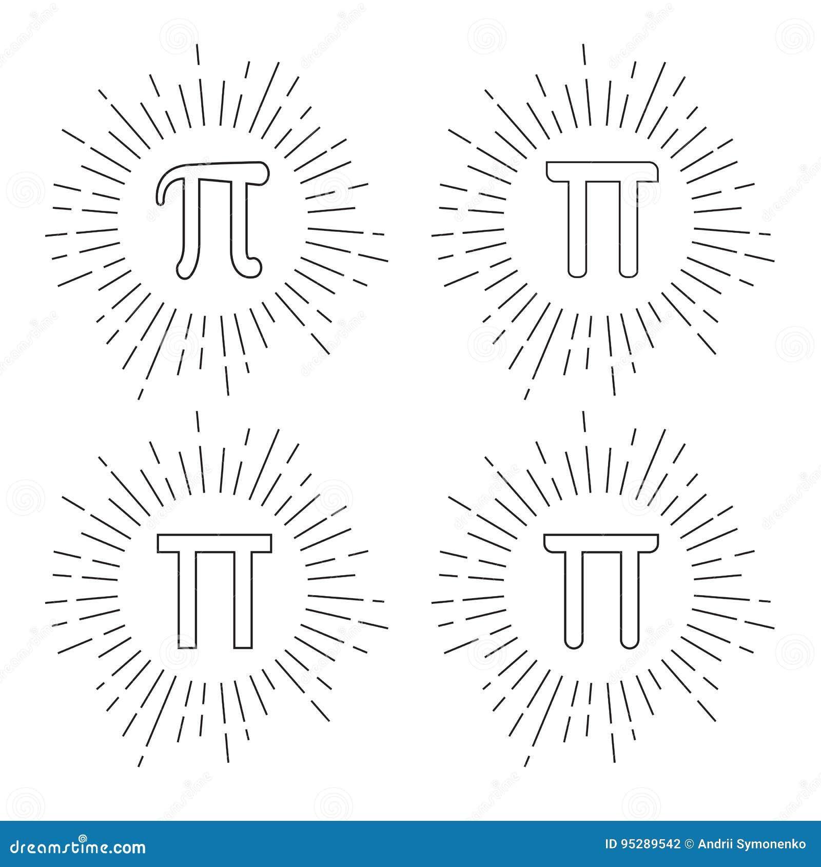 Mathematic Pi icon flat set. Vector illustration