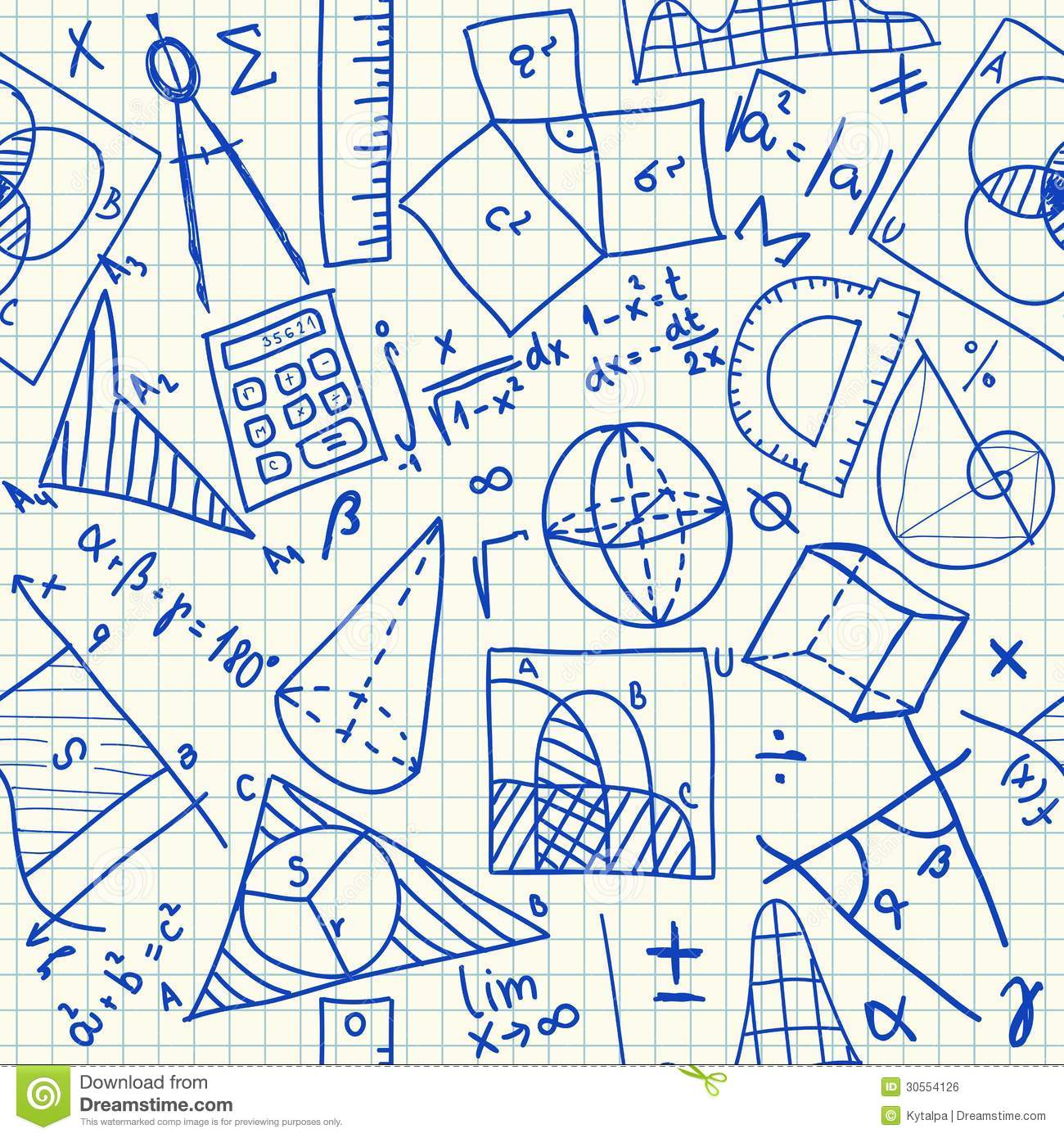 Mathematical Doodles Seamless Pattern Stock Vector ...