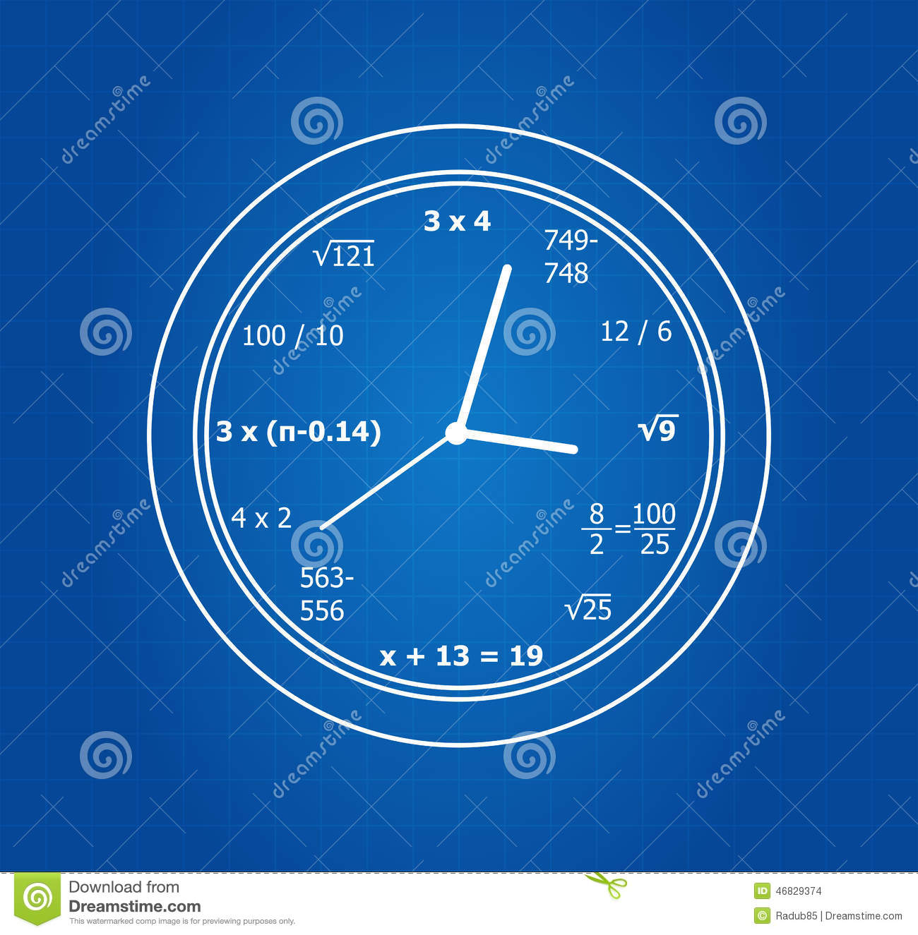 Equations stock illustrations 741 equations stock illustrations mathematical equations clock on blueprint stock images malvernweather Image collections