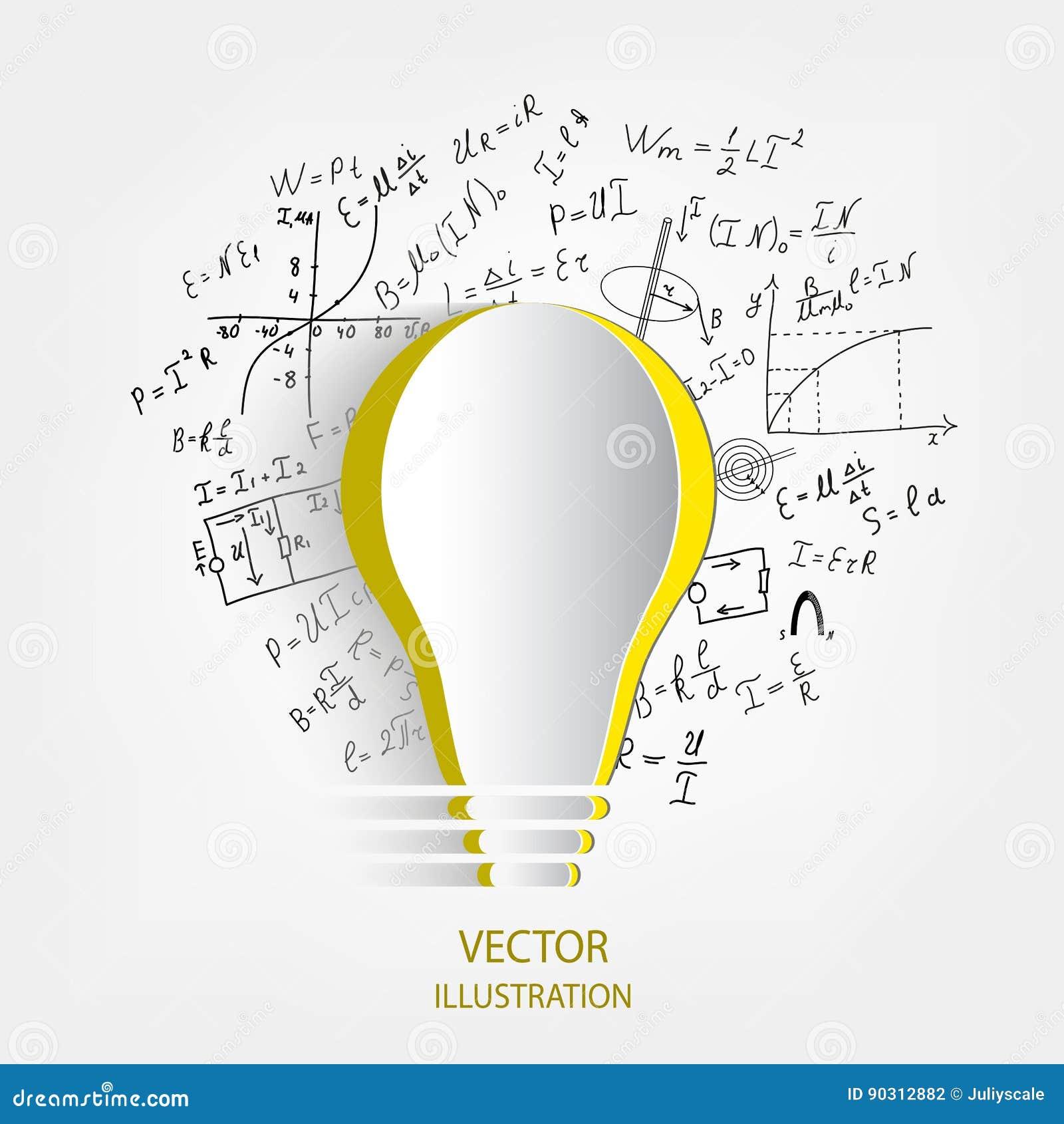 Mathematical Equations And Formulas Around The Light Bulb