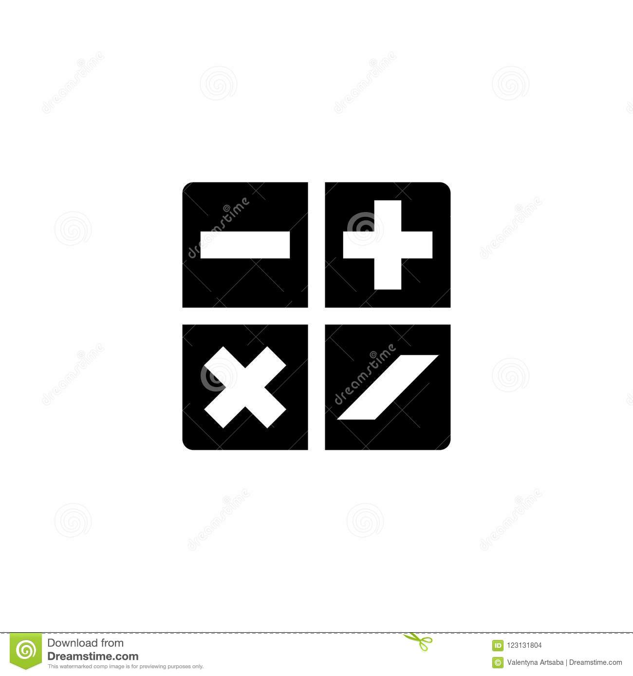 Mathematical Plus Minus Multiplication Division Flat Vector Icon