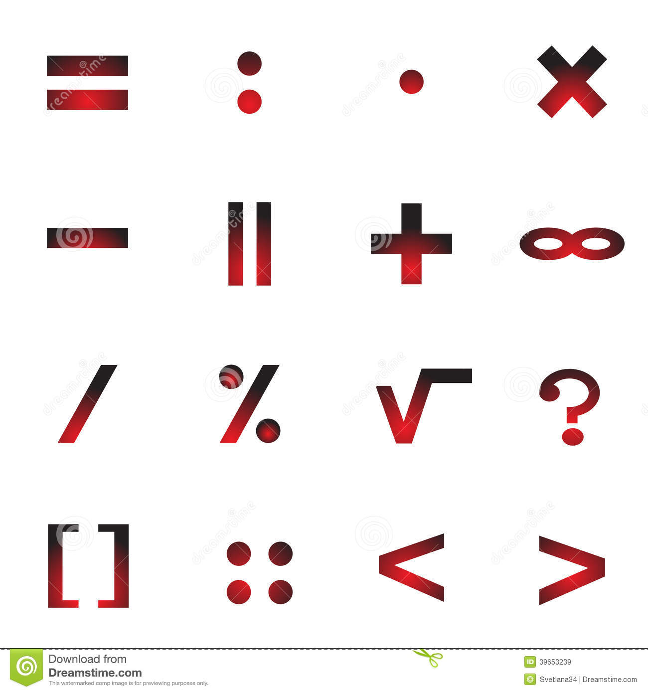 Mathematical Symbols Of An Icon Stock Vector Image