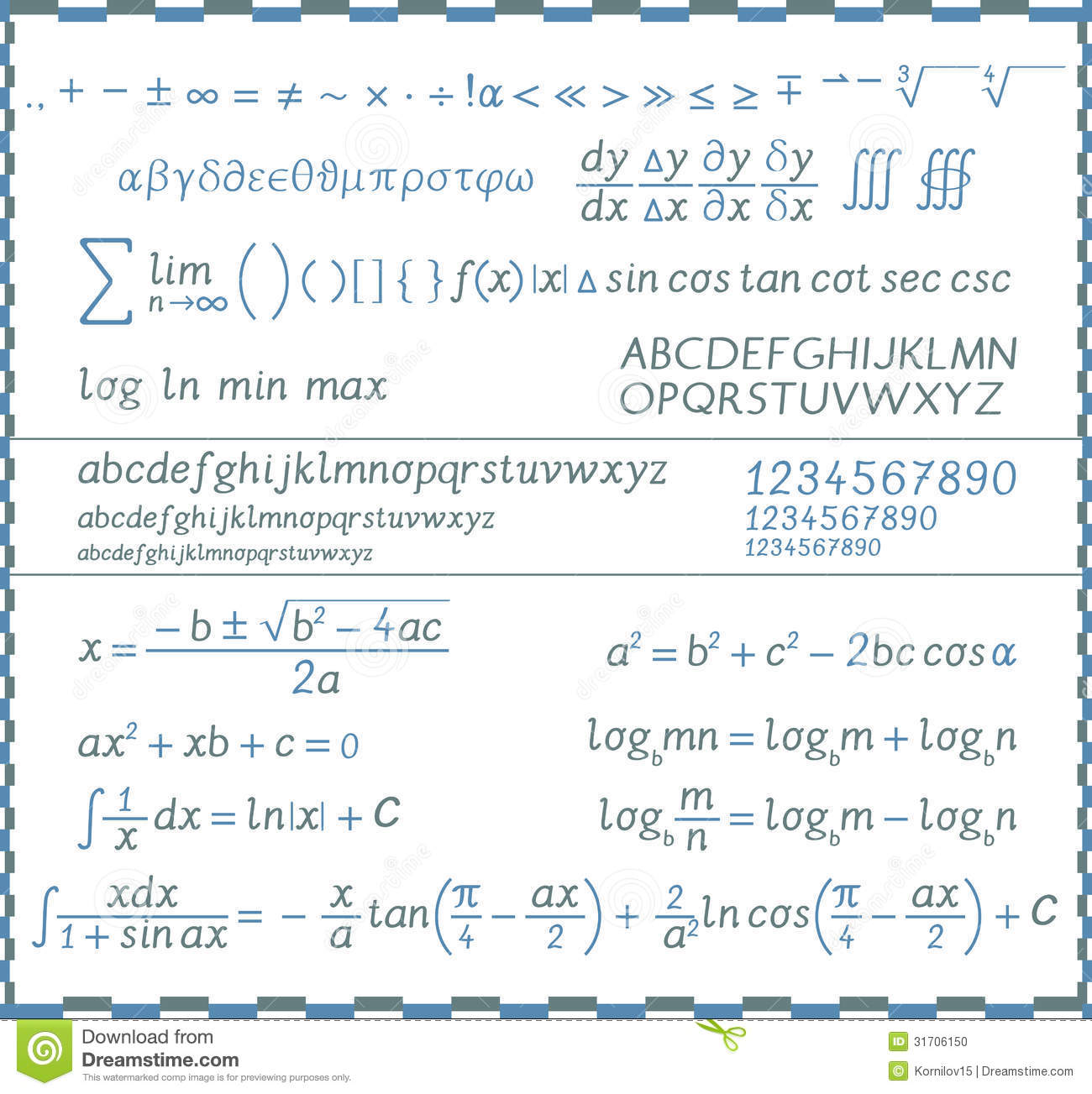 mathematical symbols numbers and letters handwriting