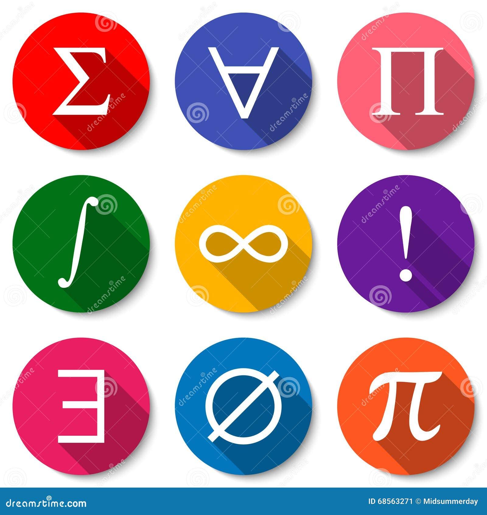 Mathematical symbols set of colorful flat math icons with long download mathematical symbols set of colorful flat math icons with long shadows vector illustration publicscrutiny Choice Image