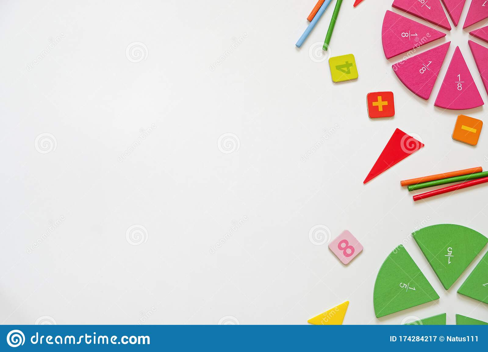 Mathematics Background Fractions On White Table Close Up Dividing Fractions Math Concept Top View Stock Image Image Of Student Lesson 174284217