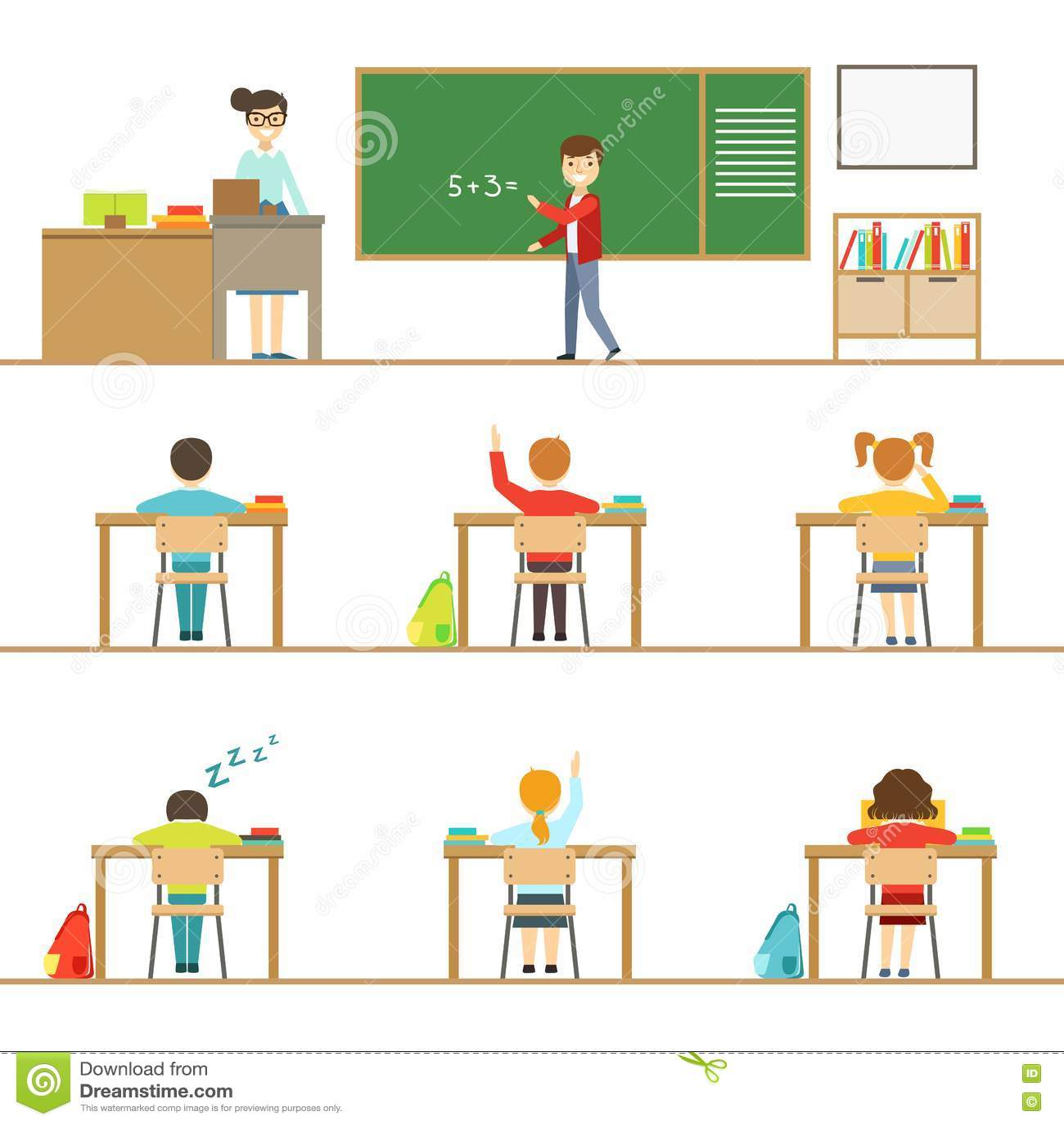 Minimalist Classroom Elementary ~ Bored student kids at school classroom in desk royalty