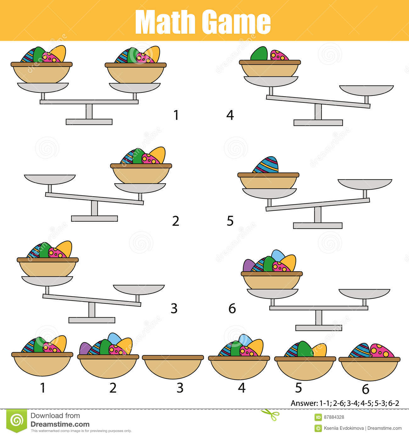 Mathematics educational game for children. balance the scale. Easter eggs in basket