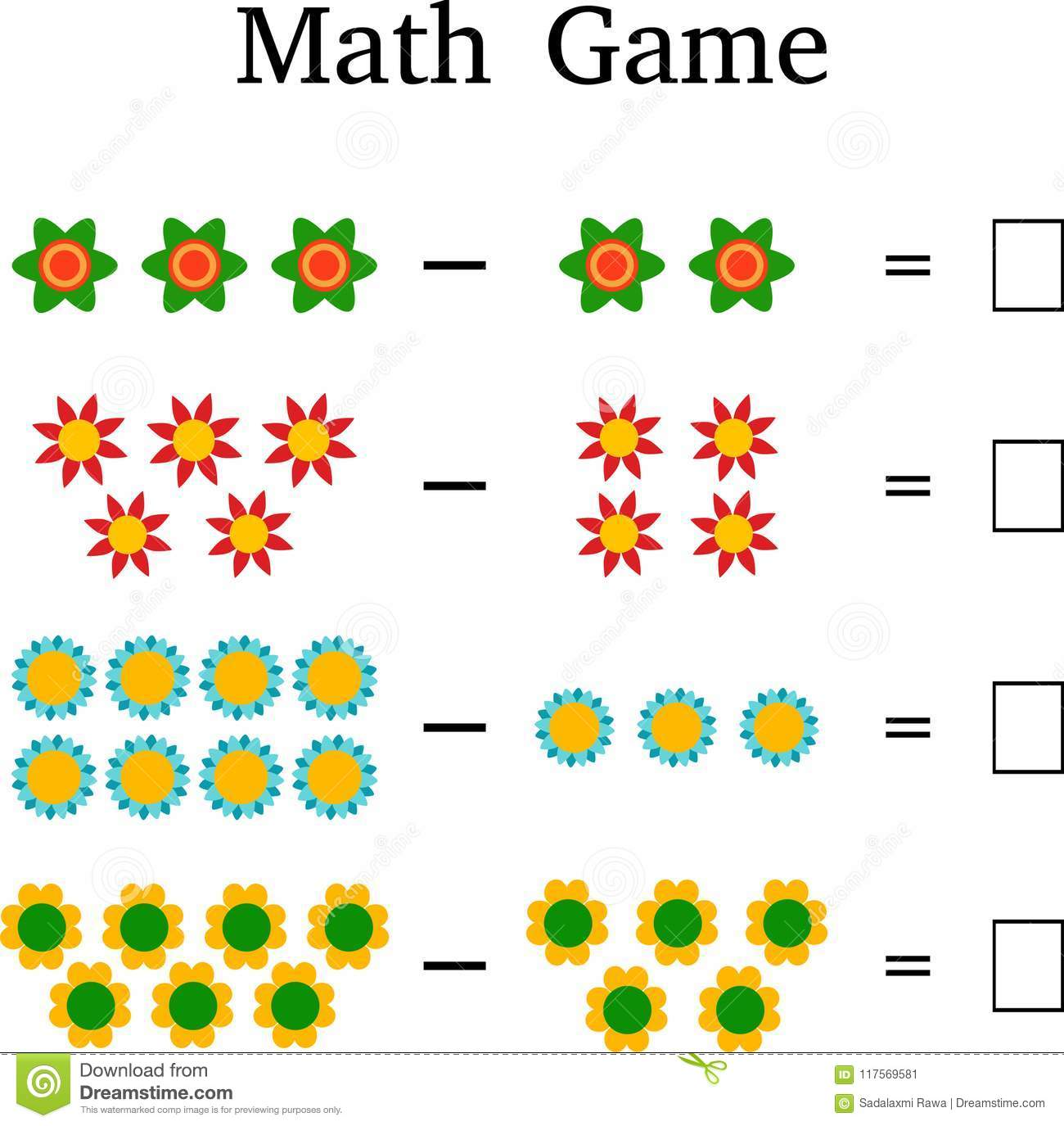Mathematics Educational Game For Kids Stock Image Illustration Of