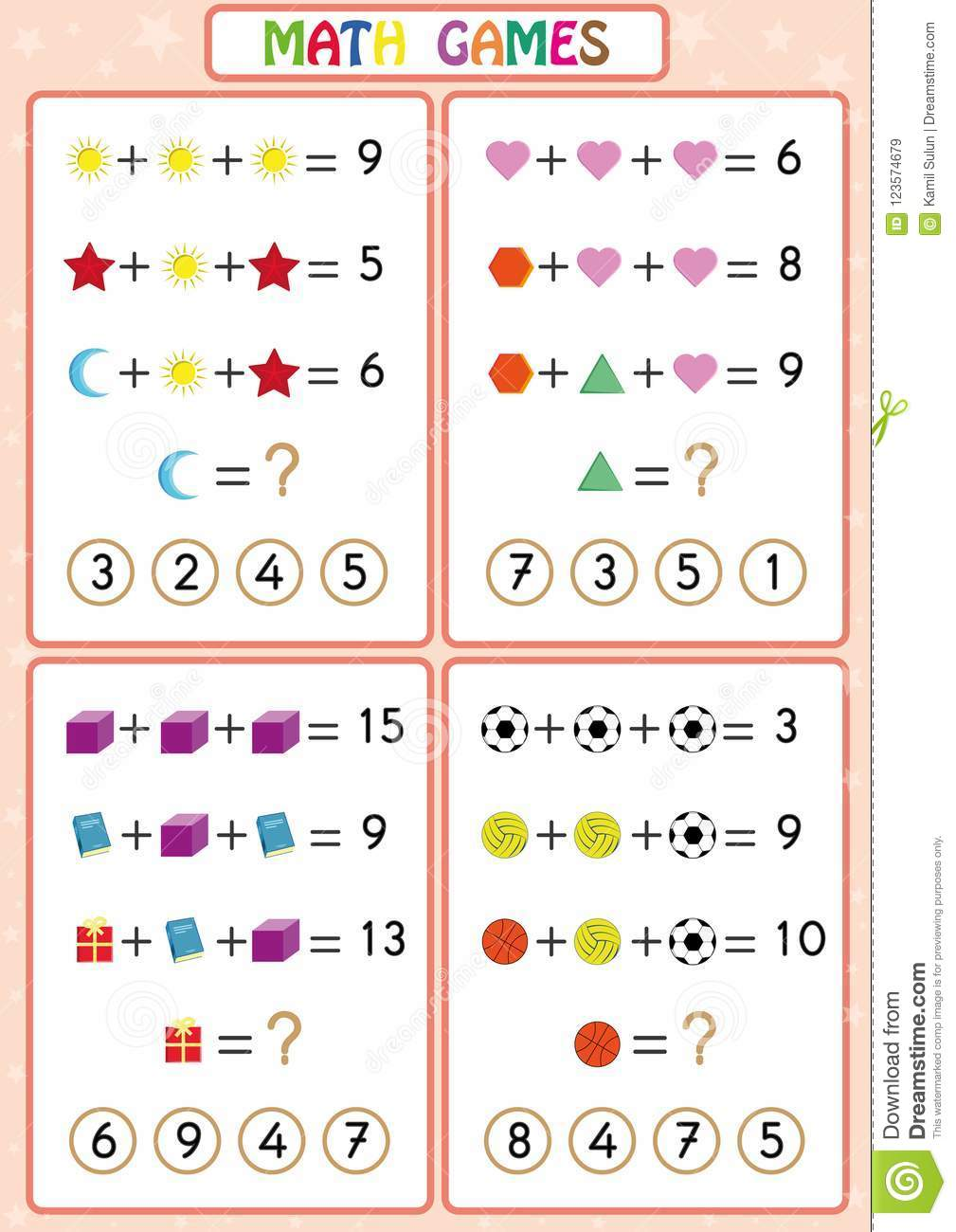 Mathematics Educational Game For Kids, Fun Worksheets For Children ...